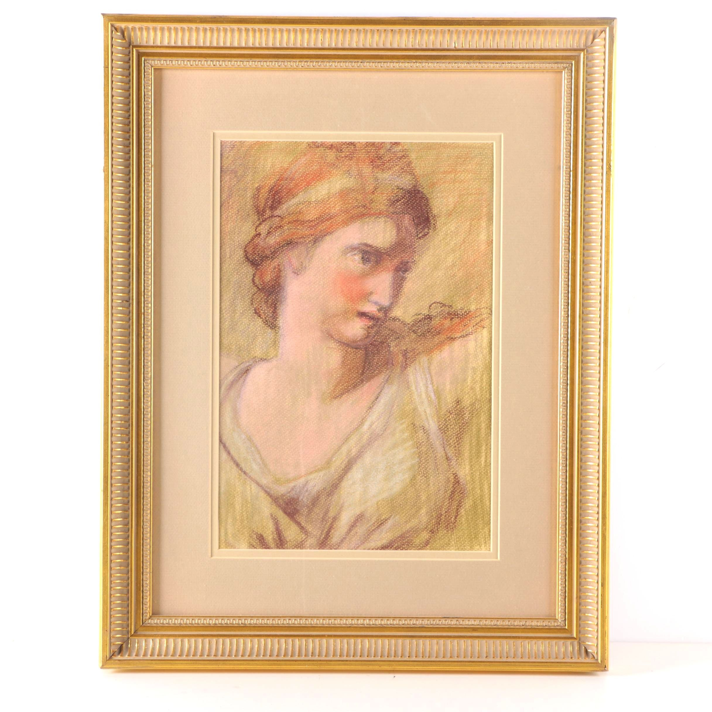 Framed Pastel Drawing of Female Figure
