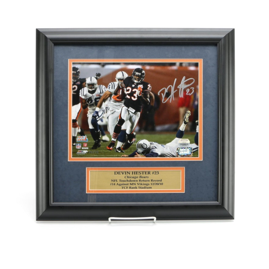 Devin Hester Autograph Chicago Bears Plaque in Frame : EBTH