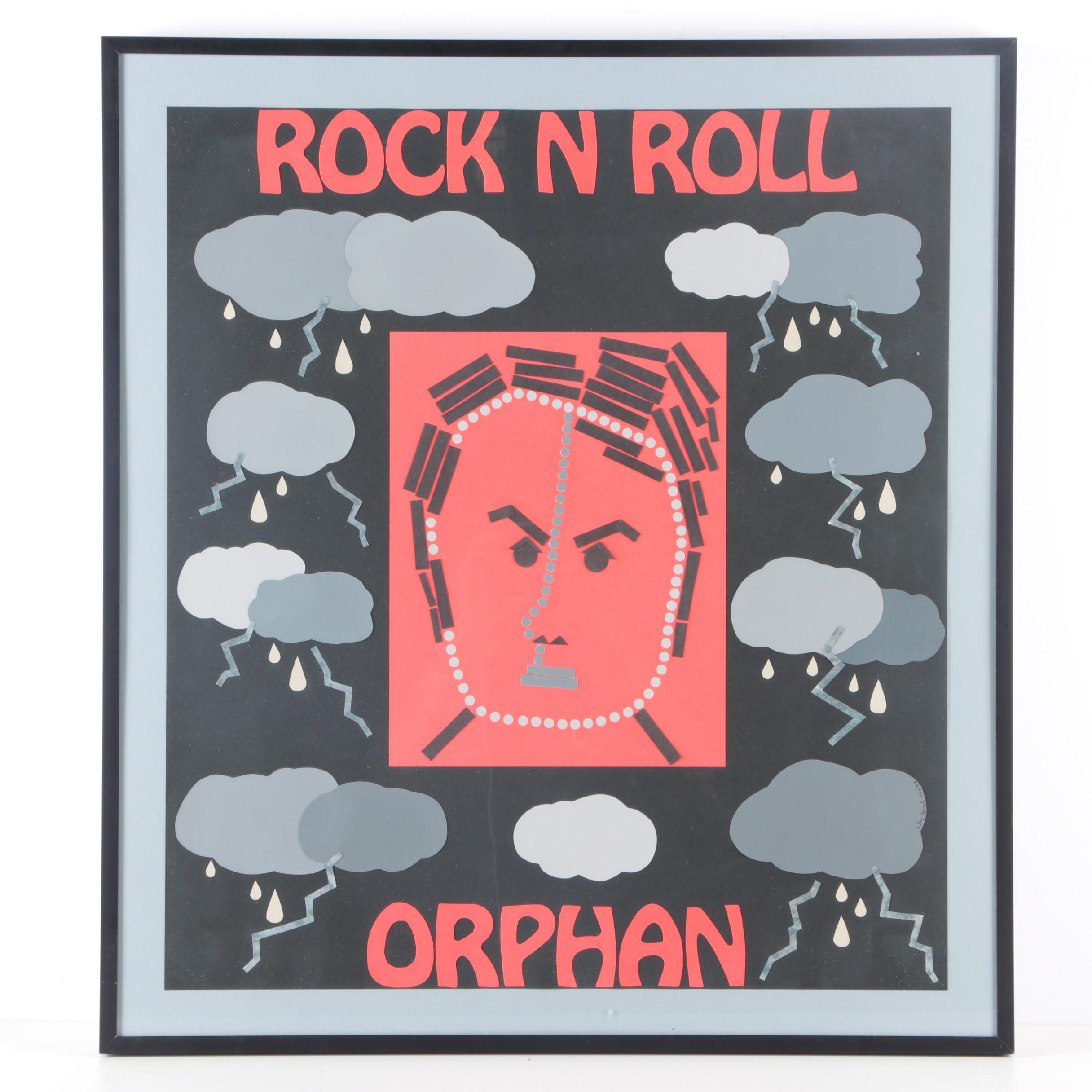 """Sally Spiegel Paper Collage """"Rock N Roll Orphan"""""""