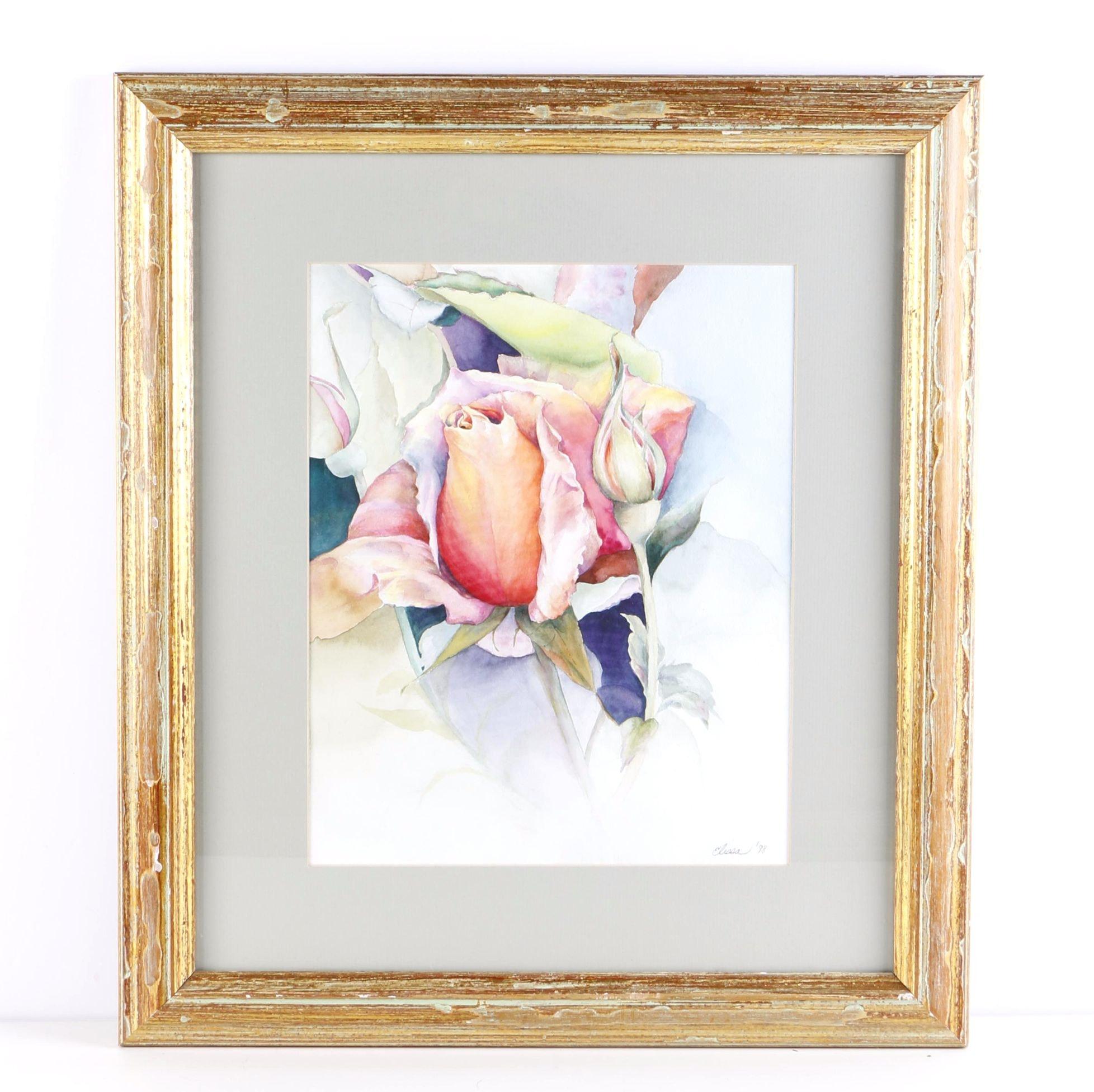 Elissa Watercolor Painting of Flowers