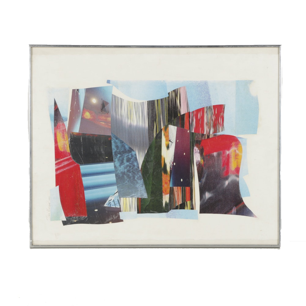 Donald Werner Photographic Collage on Paper Abstract Scene