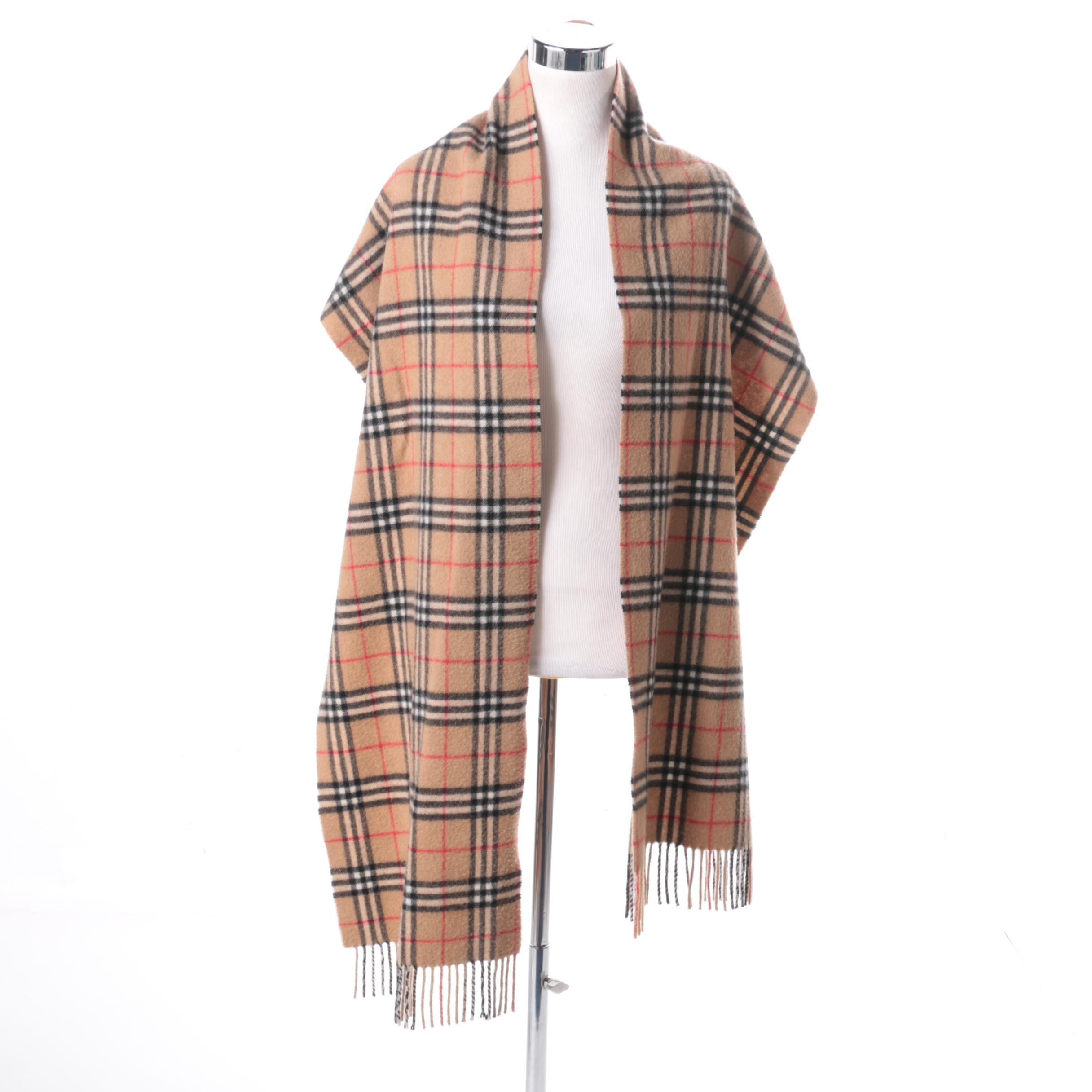 Plaid Wool Scarf With Fringe