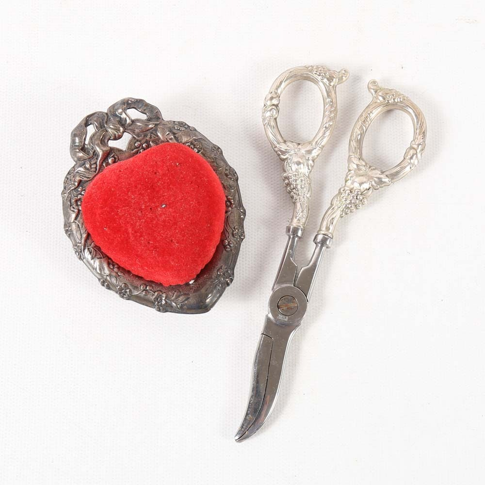 Reed & Barton Sterling Silver Pin Cushion and Scissors with Sterling Silver Handles