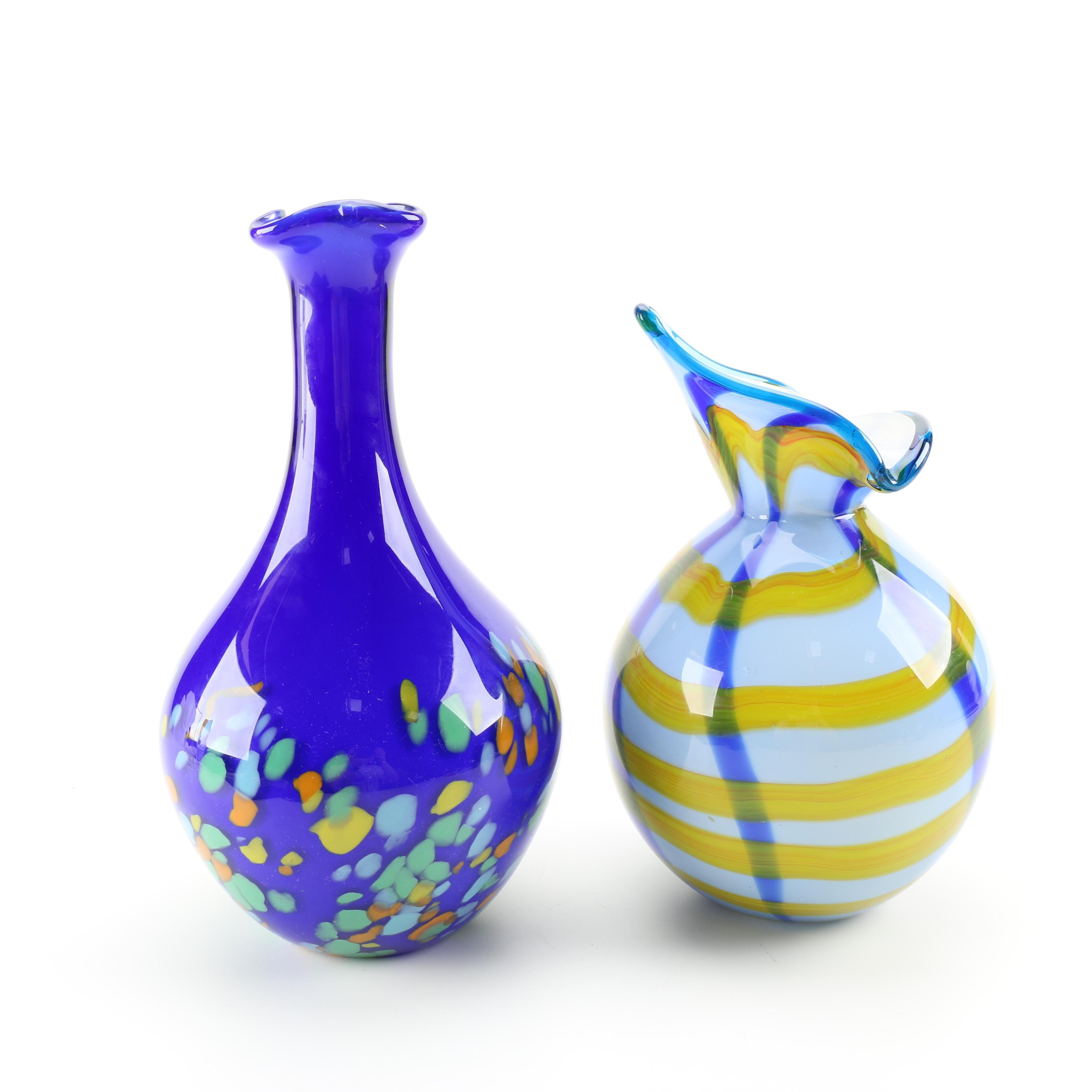 Pair of Blown Glass Vases