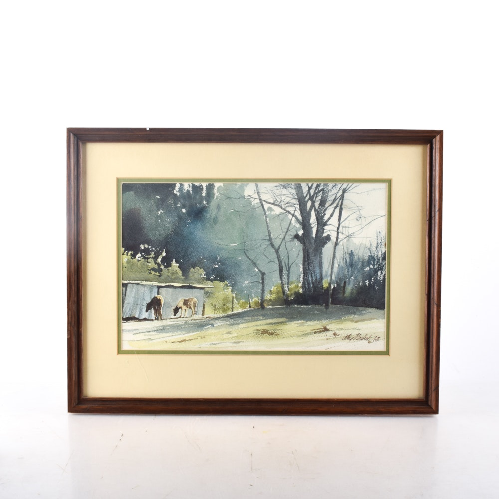 Original Signed and Framed Watercolor