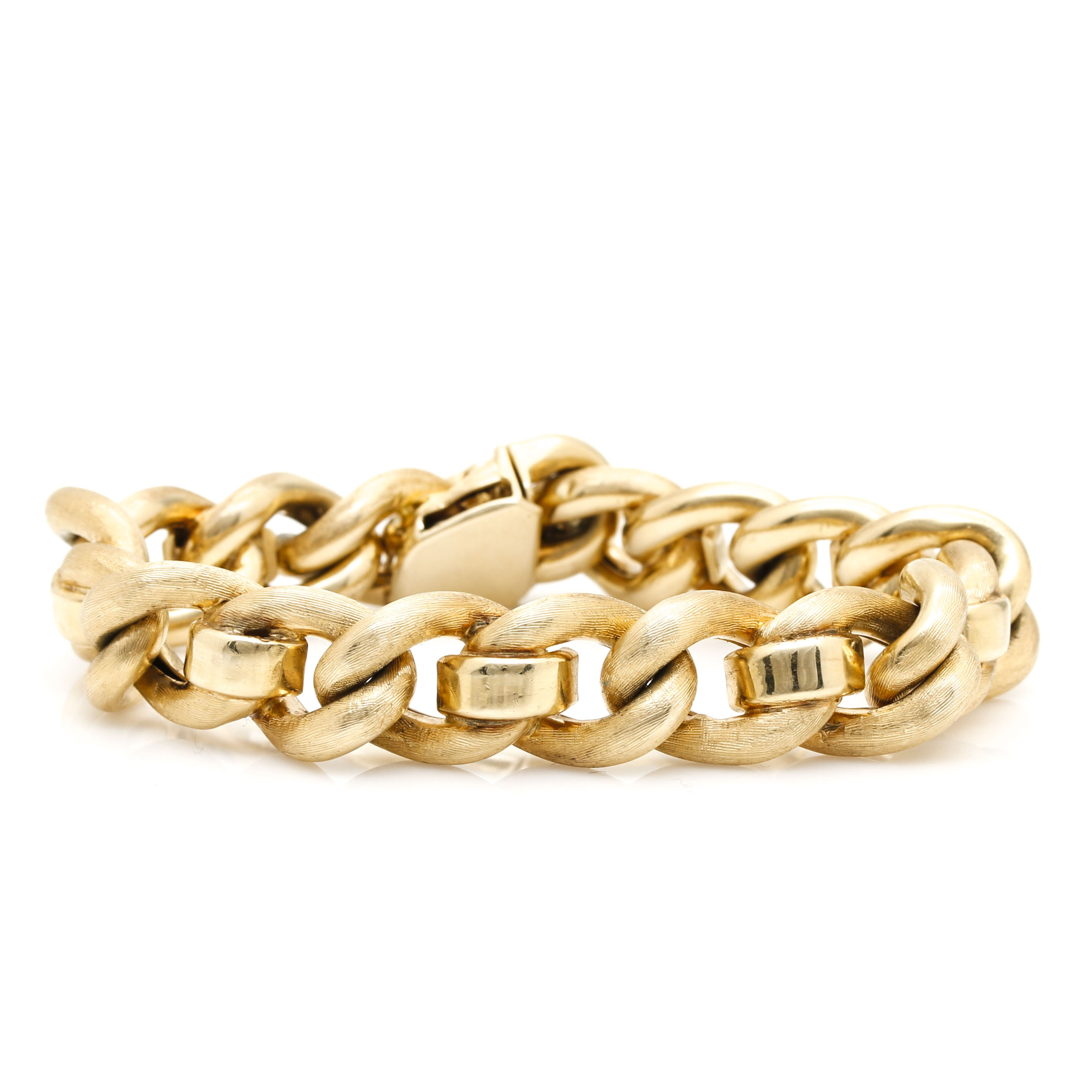 14K Yellow Gold Curb Chain Link Bracelet