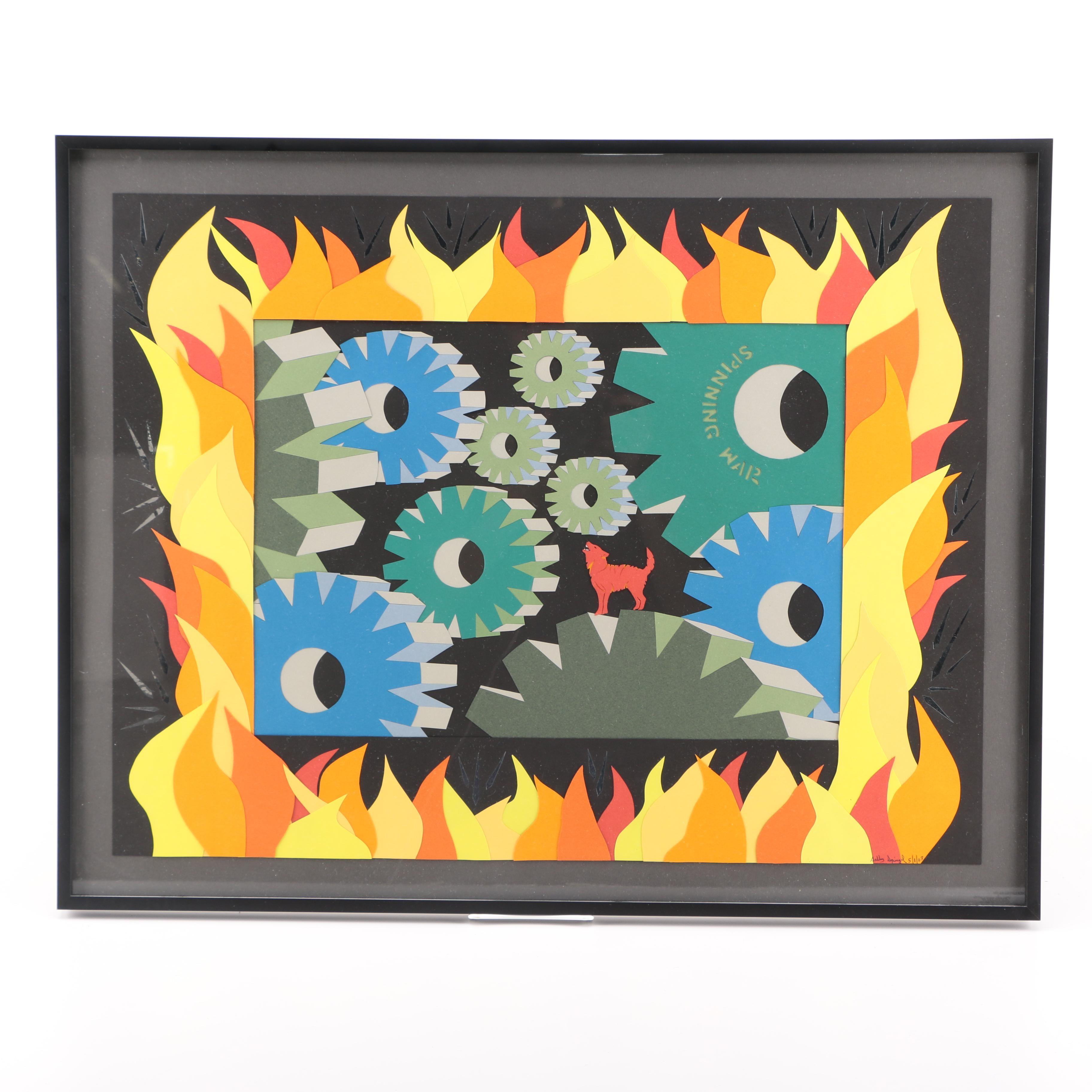 """Sally Spiegel Paper Collage """"Spinning War"""""""