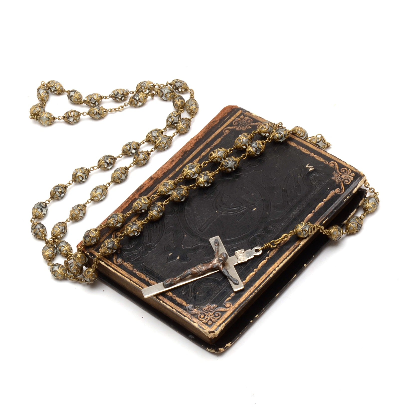 Antique German Prayer Book and Vintage Rosary