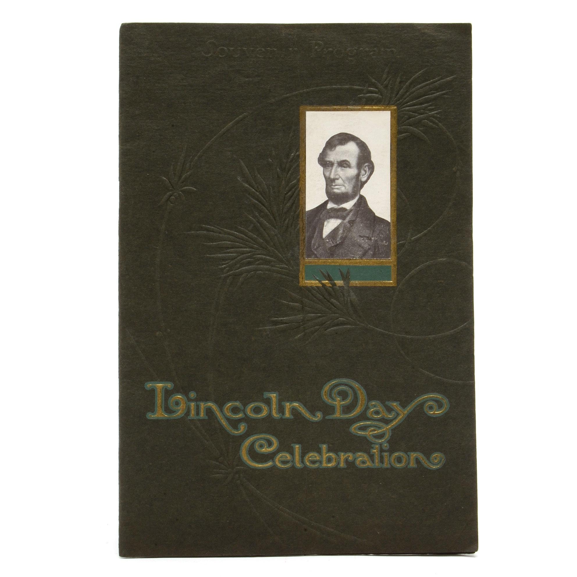 """Lincoln Day Celebration"" Pamphlet, Music Hall, Cincinnati, Ohio"