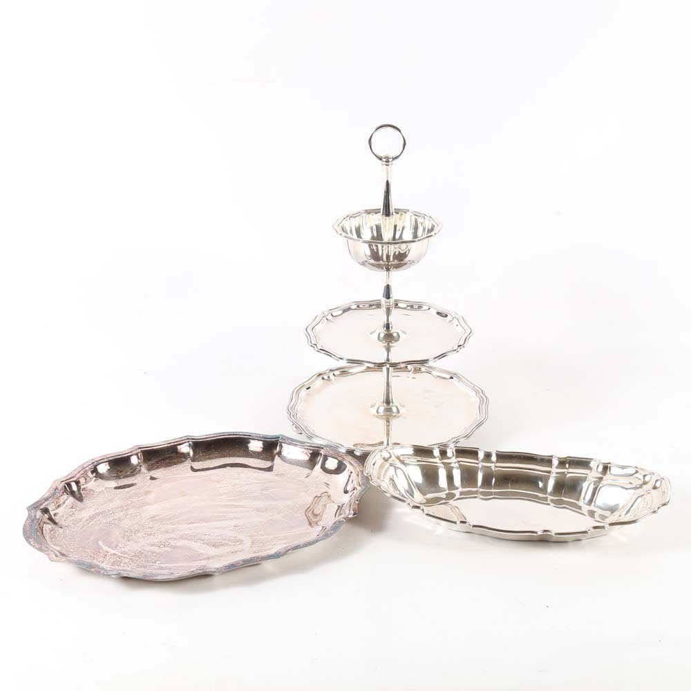 Plated Silver Serving Pieces including Towle