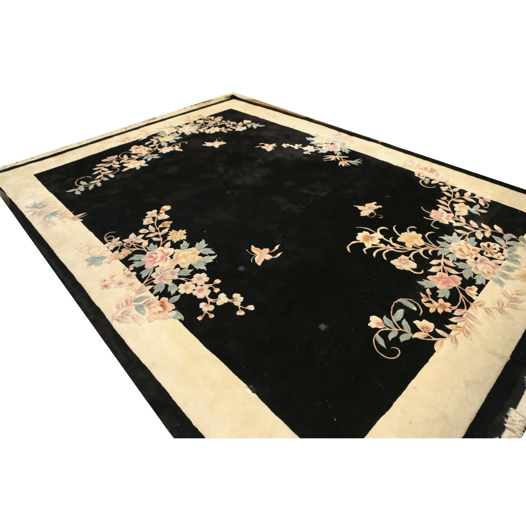 Handcarved Black and White Floral Area Rug