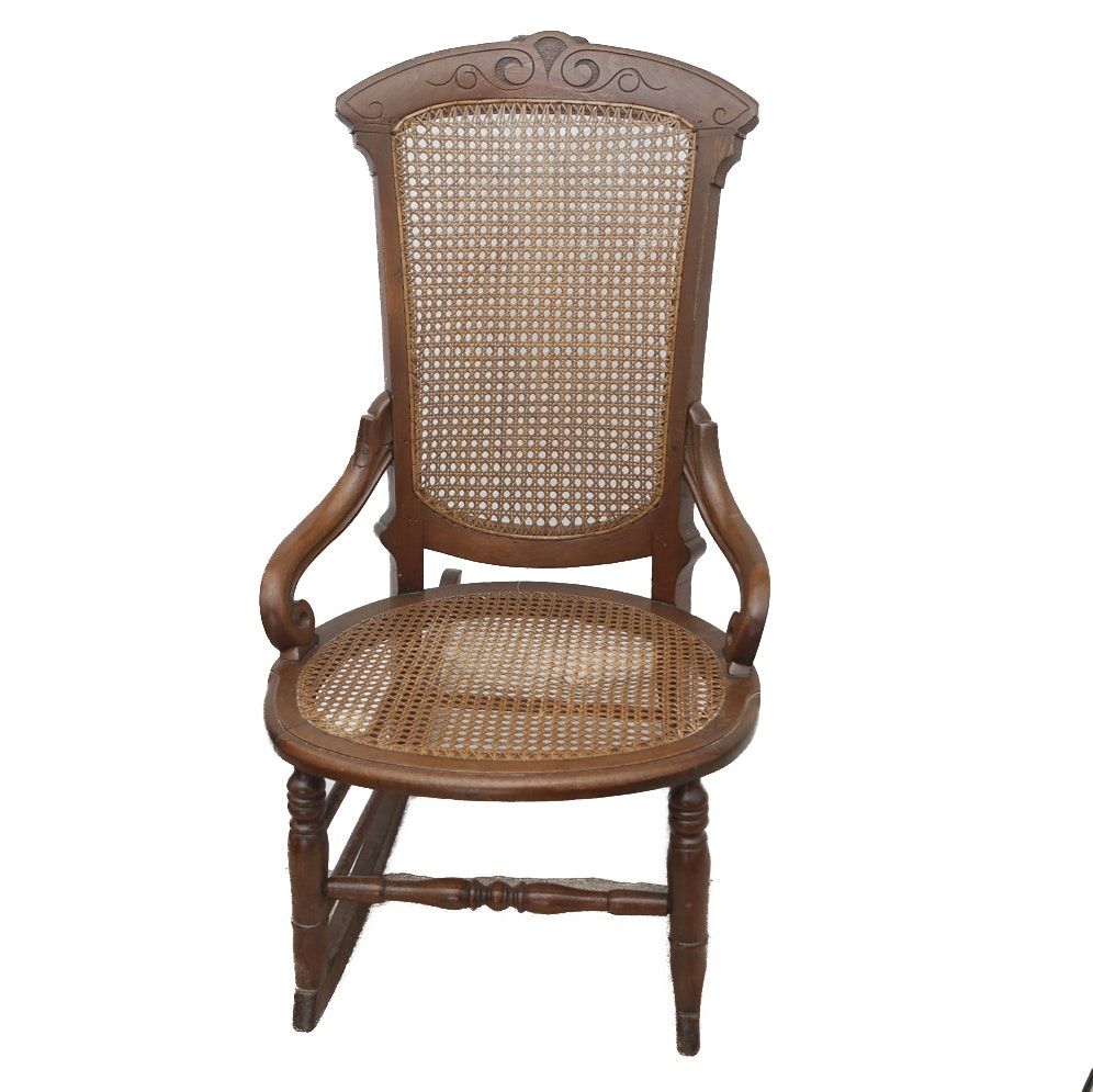 Antique Cane Back Wooden Rocking Chair