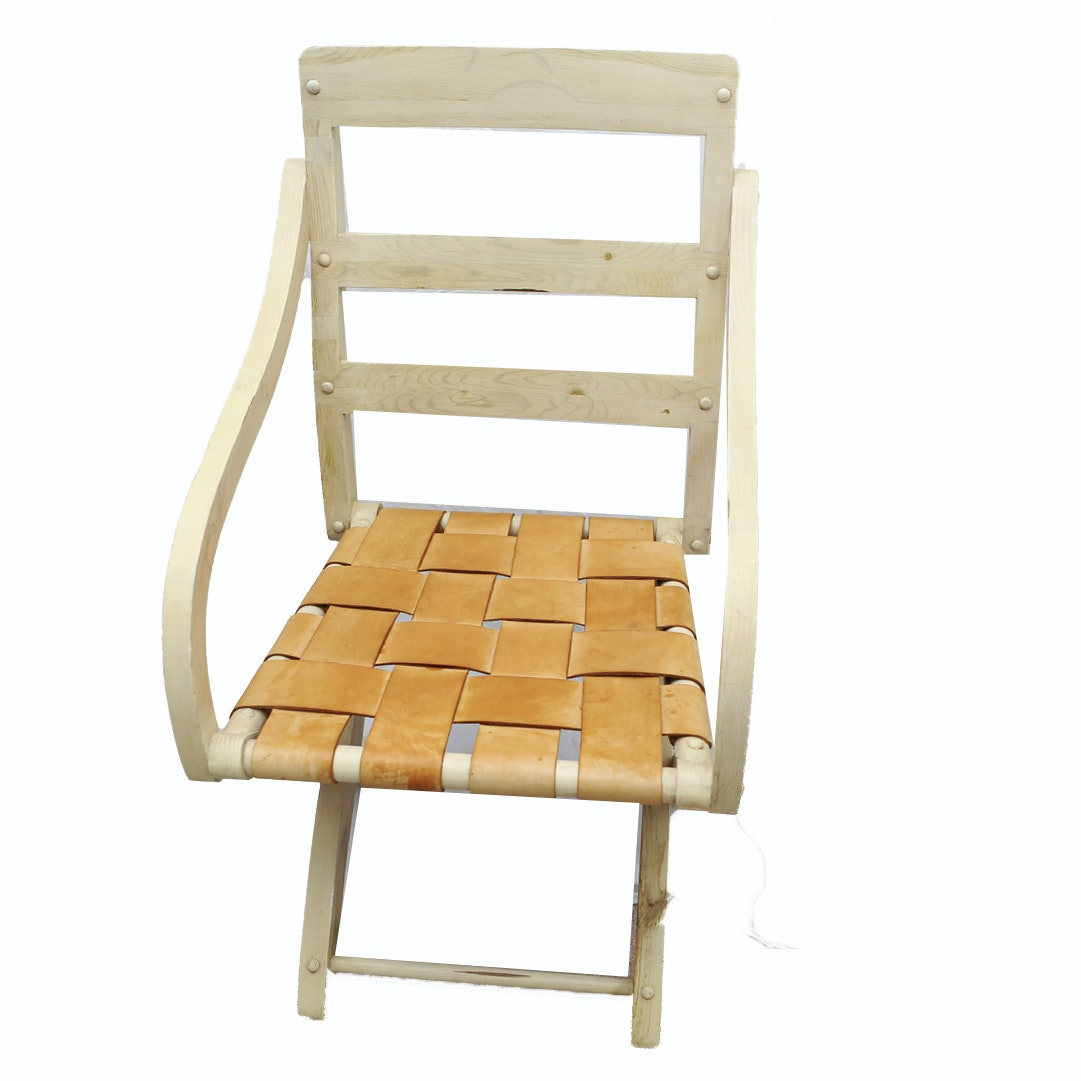 Wooden Chair with Woven Leather Seat