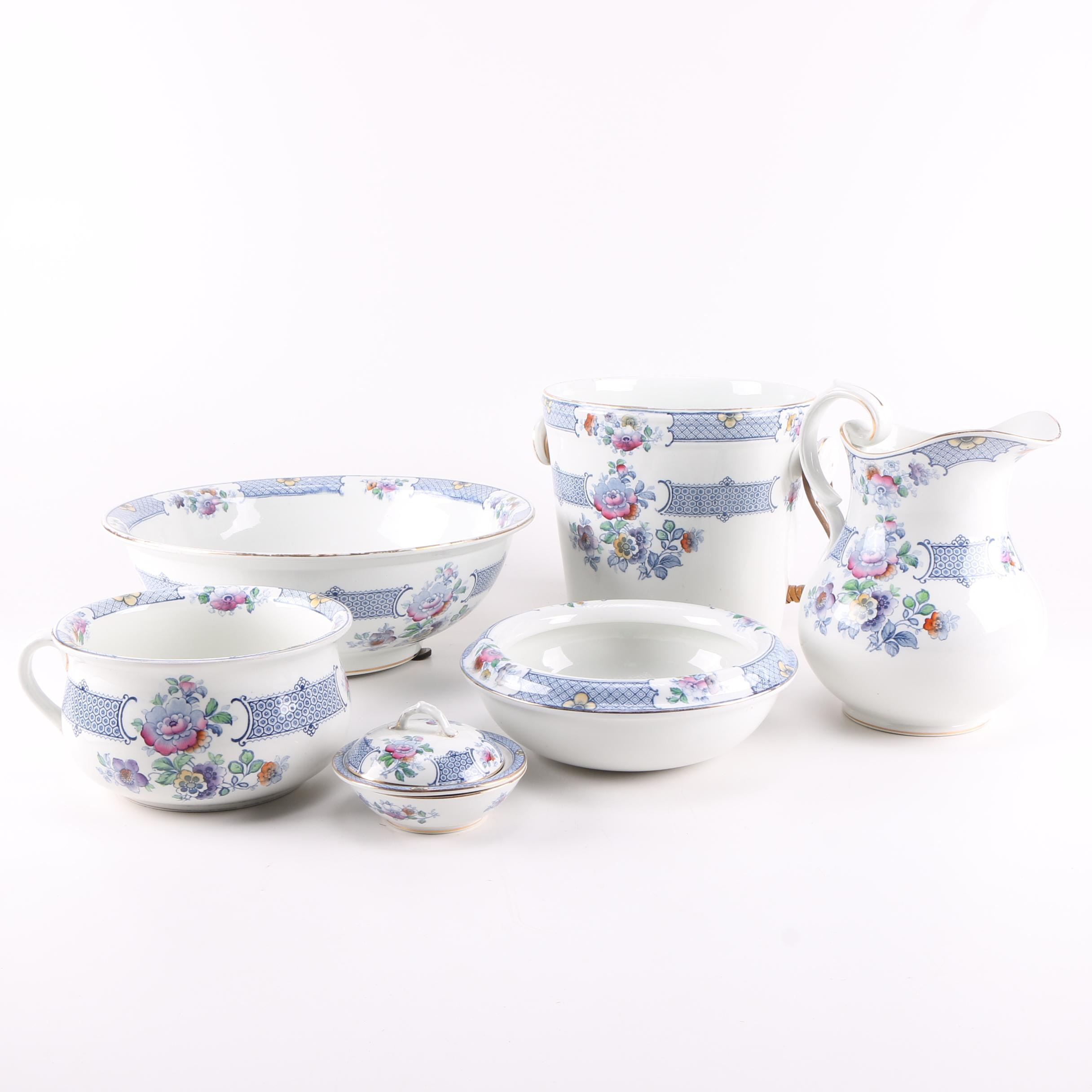 1900s Whieldon Ware Floral Chamber Set by F. Winkle & Co. Ld.