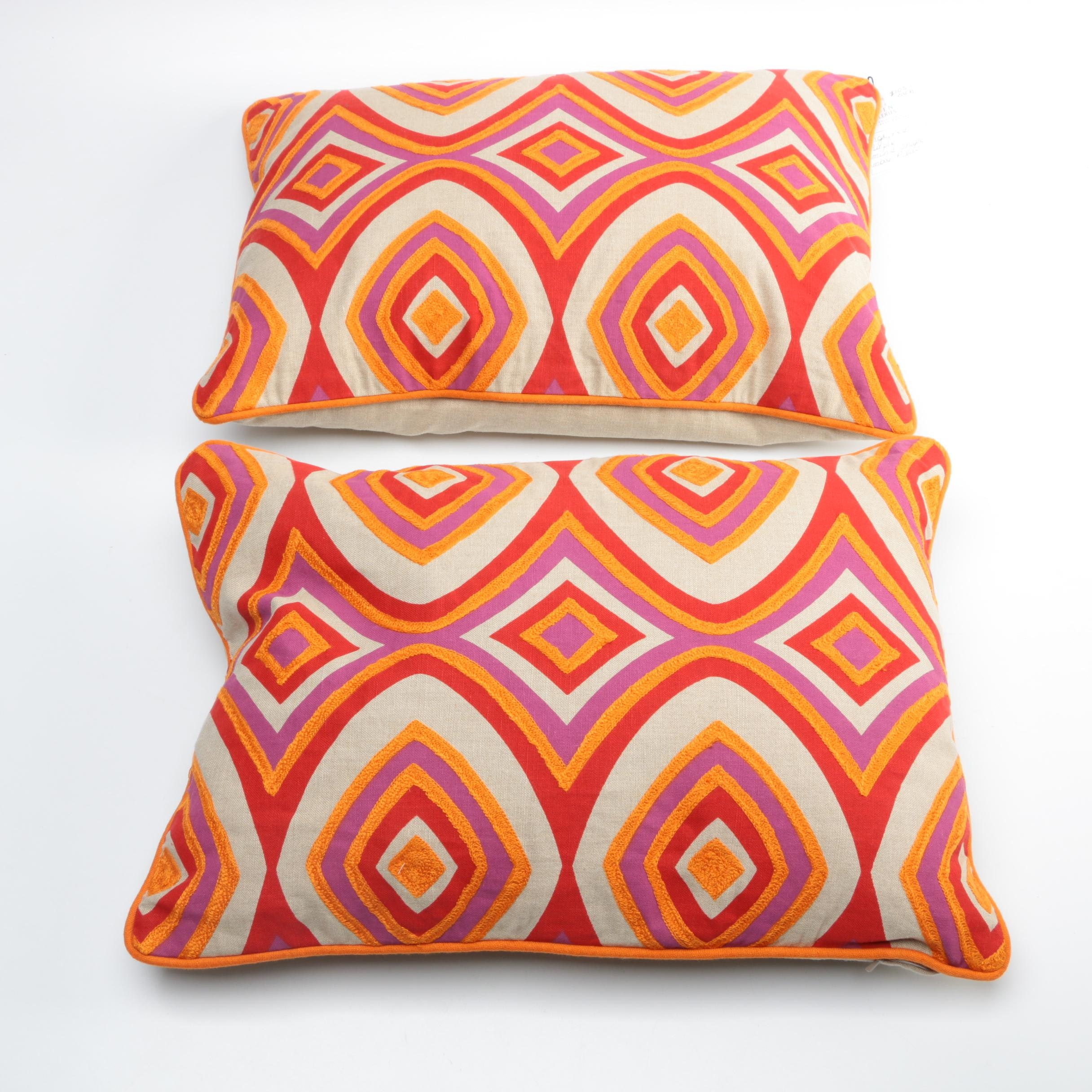 Hiden Galleries Embroidered Canvas Lumbar Pillows
