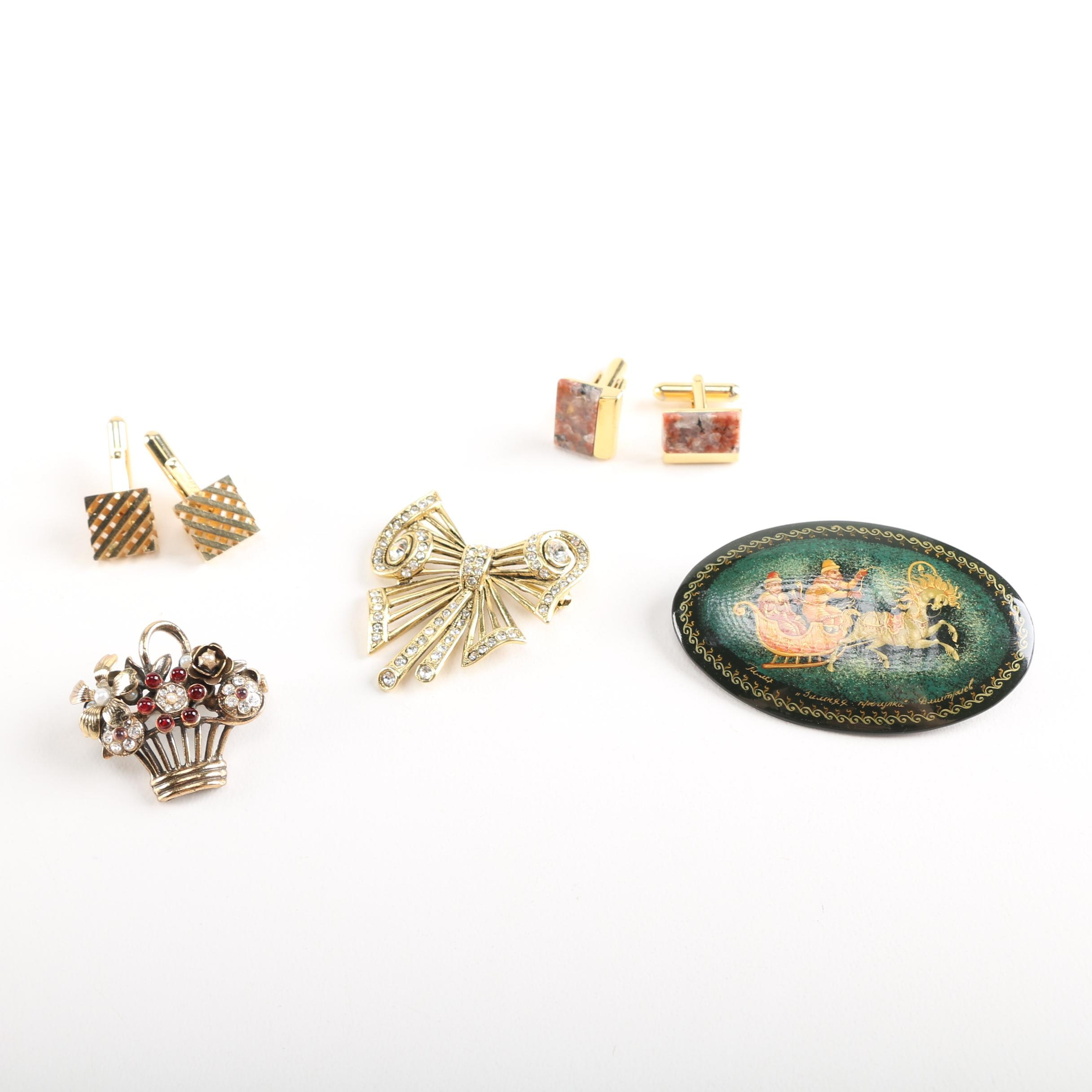 Vintage Cufflinks and Brooches Featuring Christian Dior