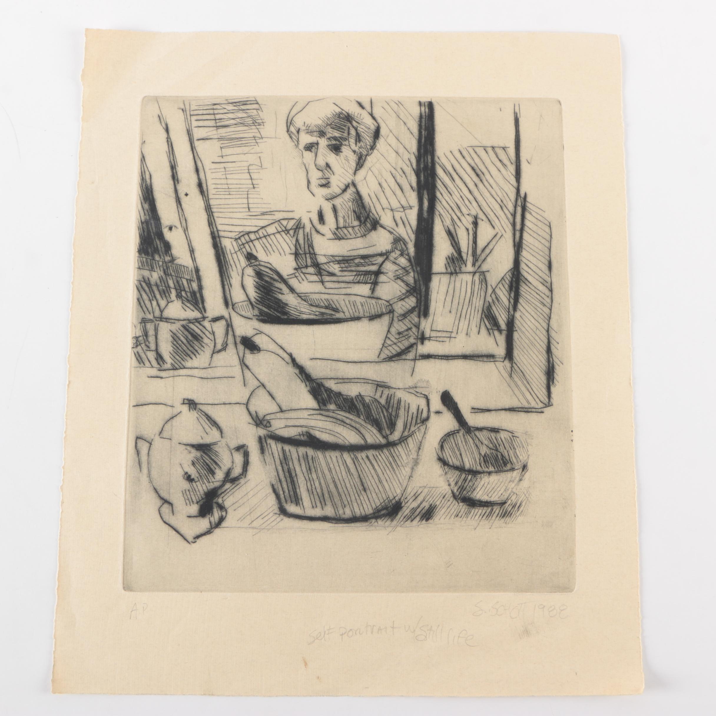 "1988 S. Schott Artist's Proof Intaglio on Paper ""Self Portrait w/ Still Life"""