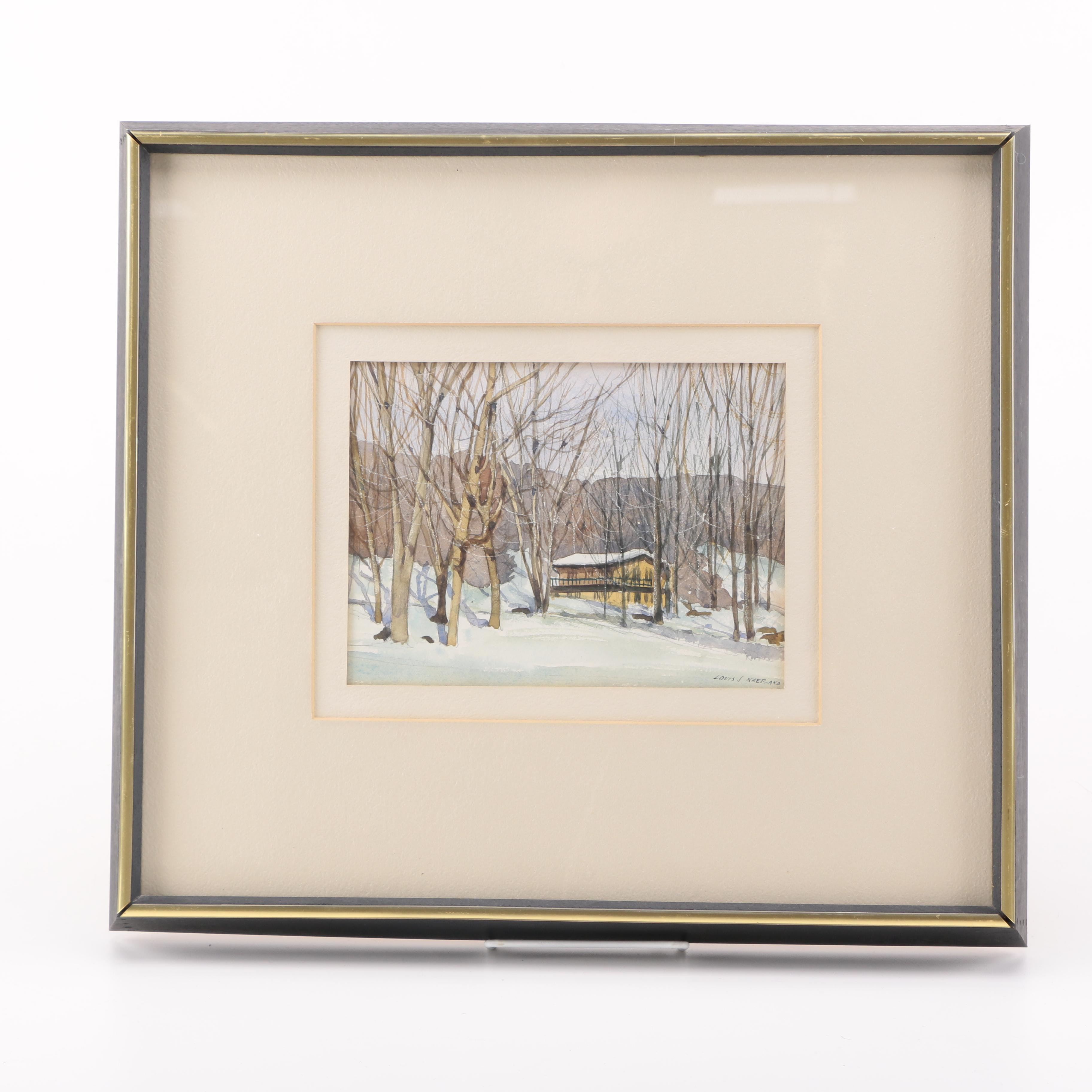 Louis J. Kaep Watercolor Painting of Yellow House in Winter Landscape