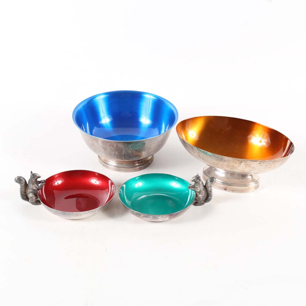 Silver Plate and Enamel Dishes Including Reed & Barton Nut Bowls