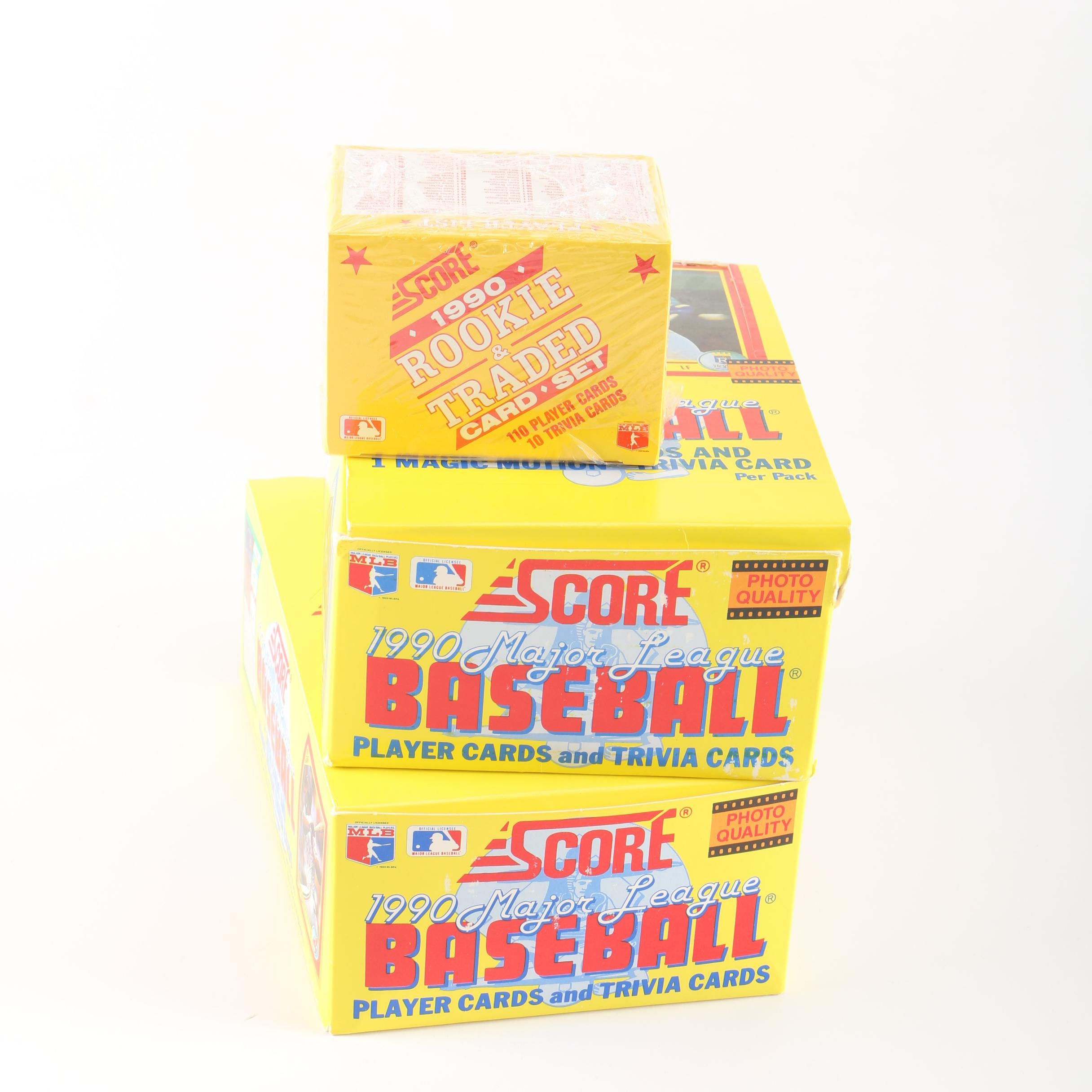 1990 Score Baseball Card Boxes and Set