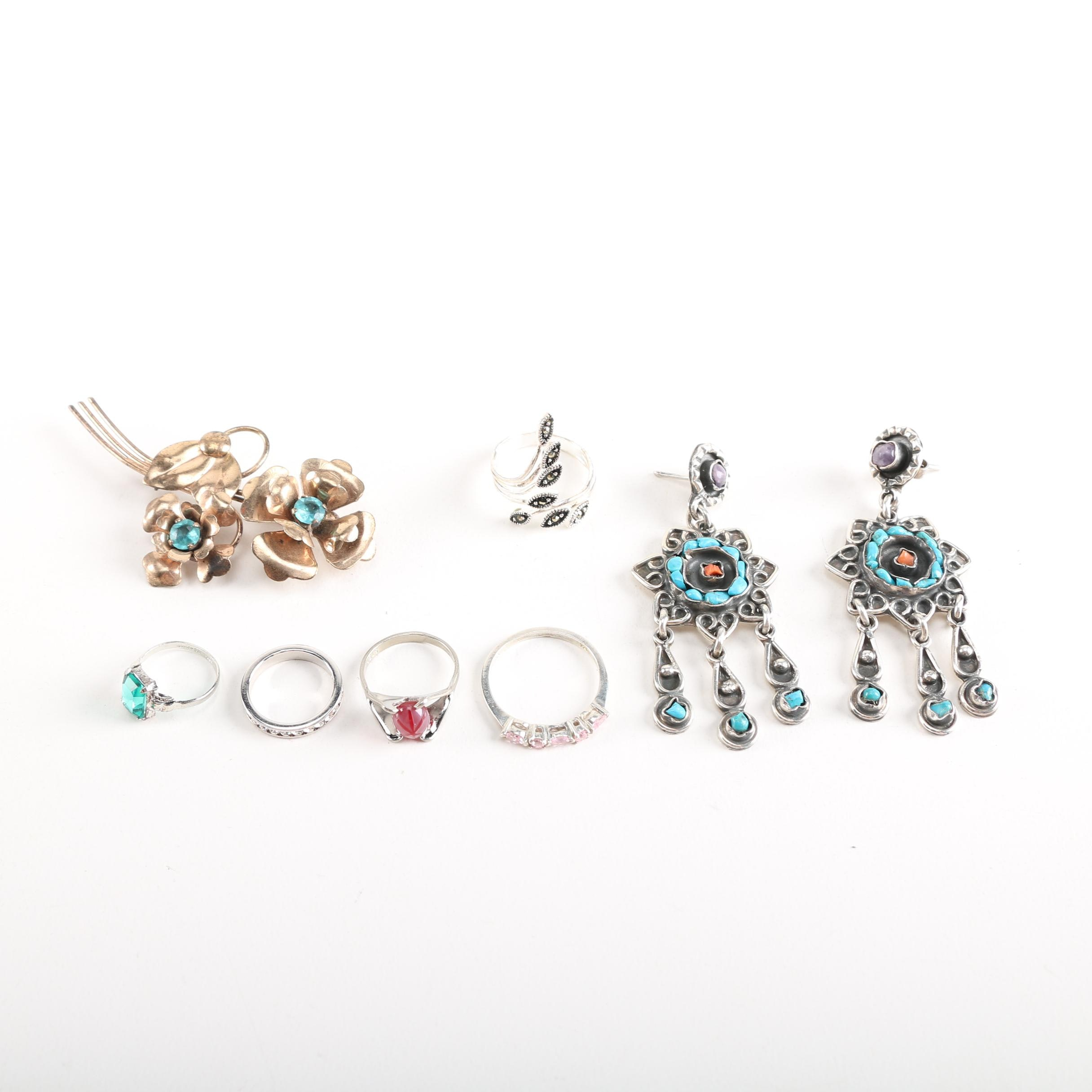 Sterling Silver Jewelry Including a Pair of Chandelier Earrings