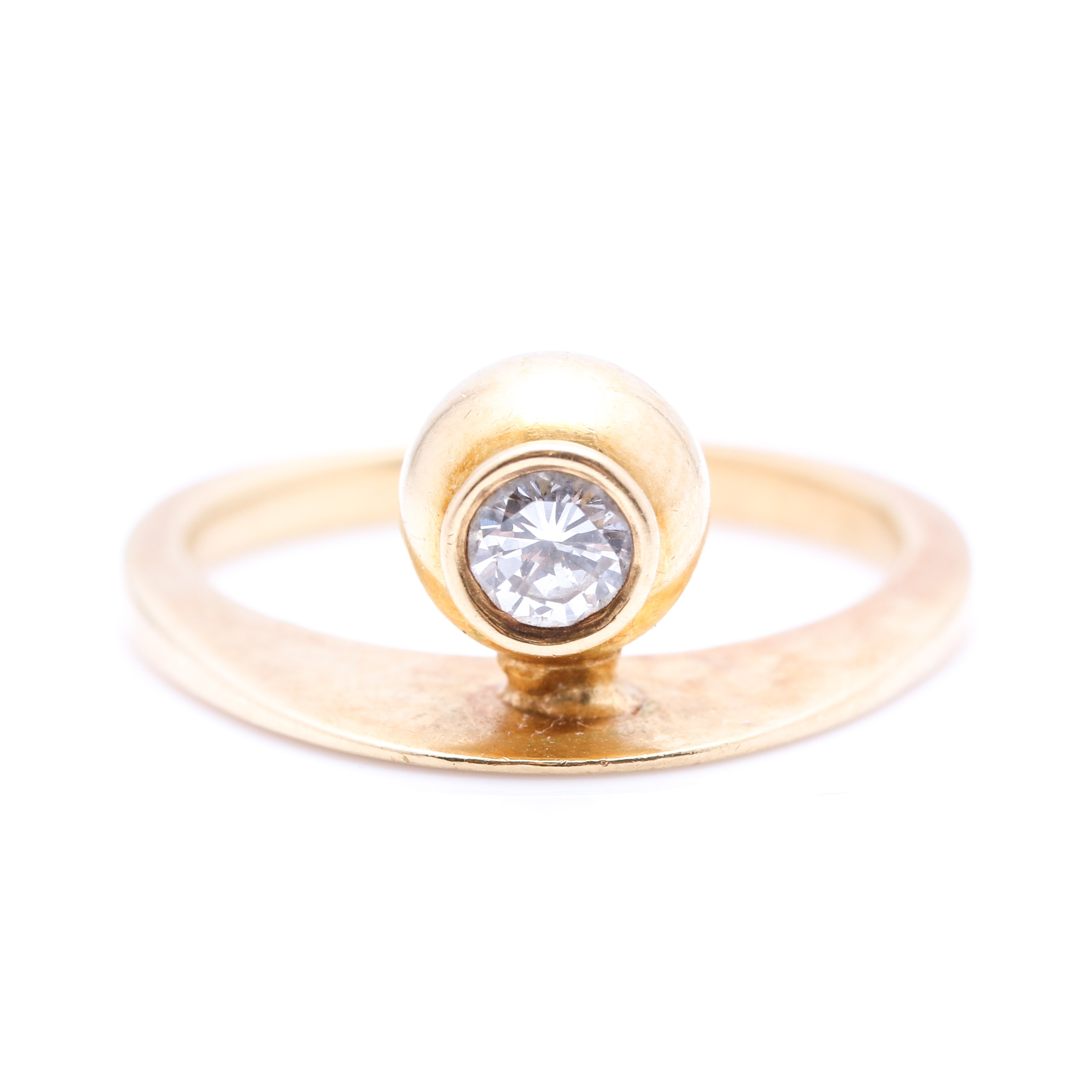 18K Yellow Gold Diamond Solitaire Ring