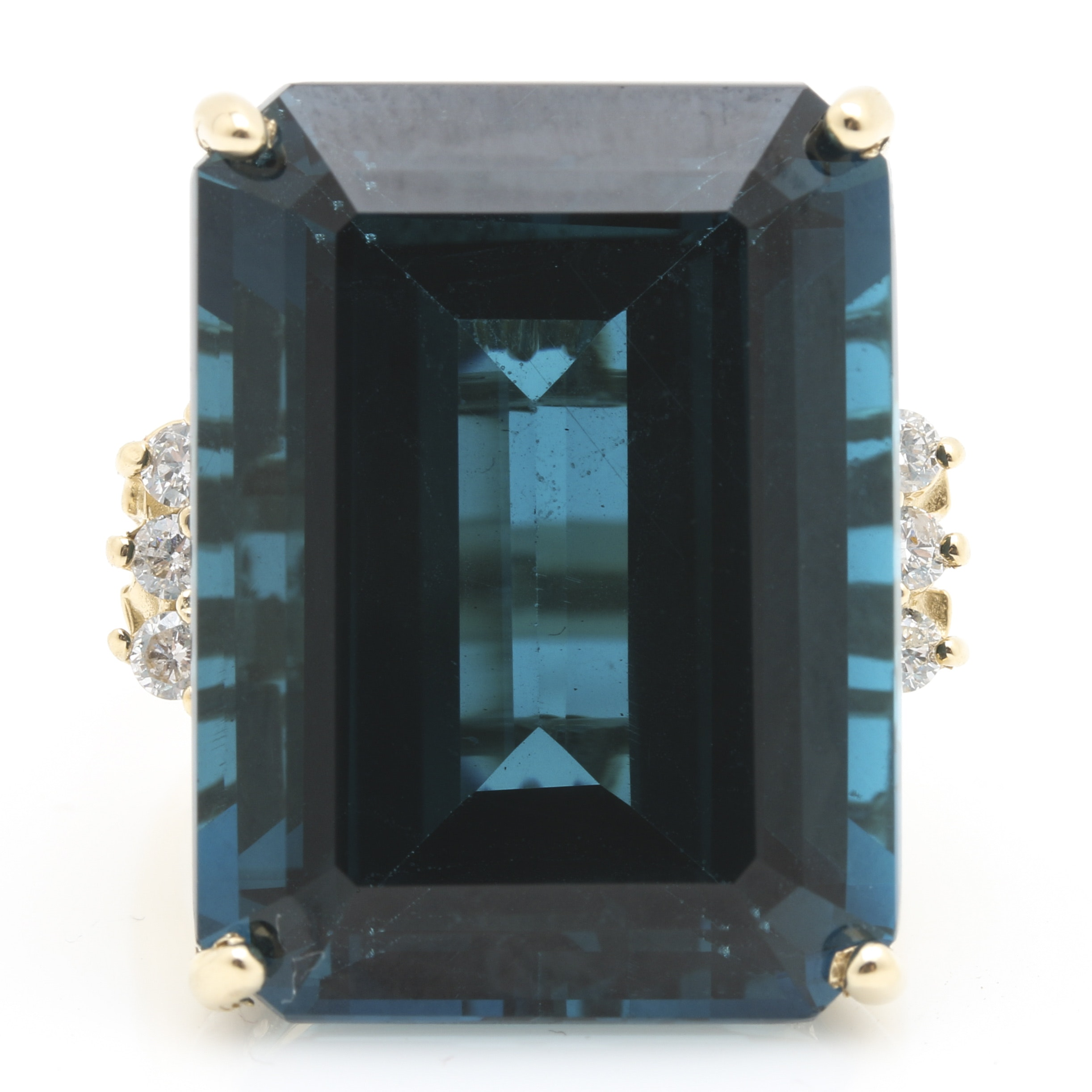 14K Yellow Gold 35.07 CTS London Blue Topaz and Diamond Statement Ring
