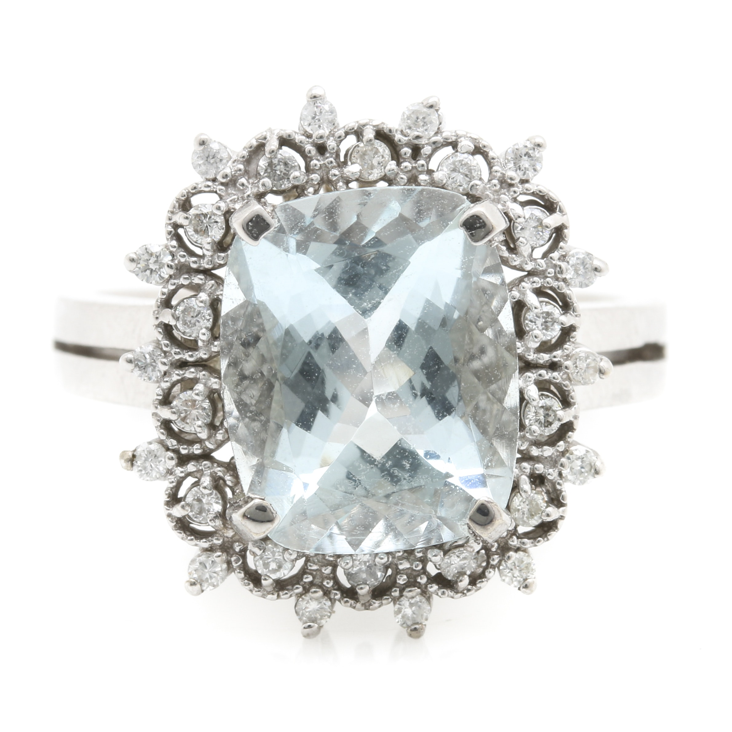 14K White Gold 3.62 CT Aquamarine Diamond Ring