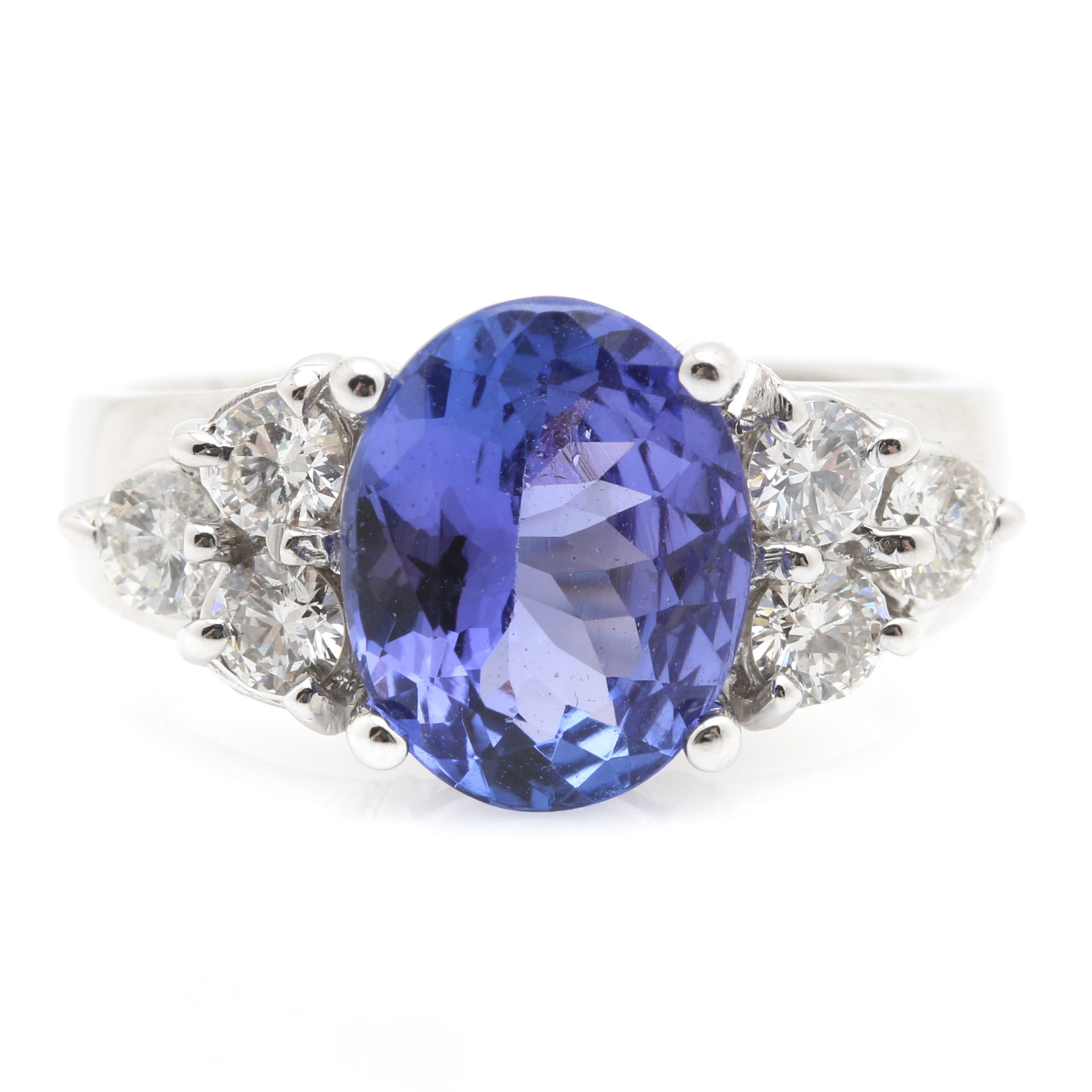 14K White Gold 2.50 CT Tanzanite and Diamond Ring