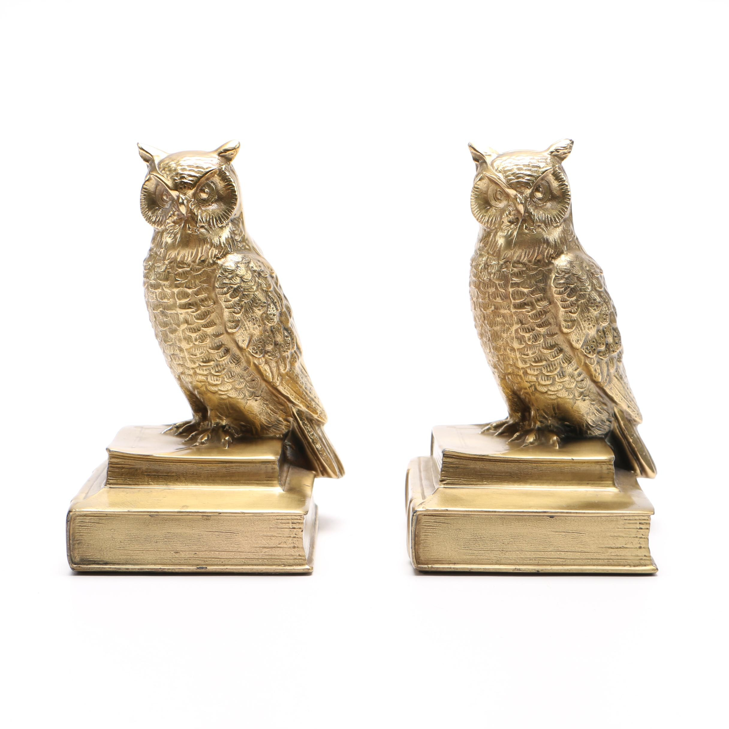 Vintage Gilt Brass Owl Bookends