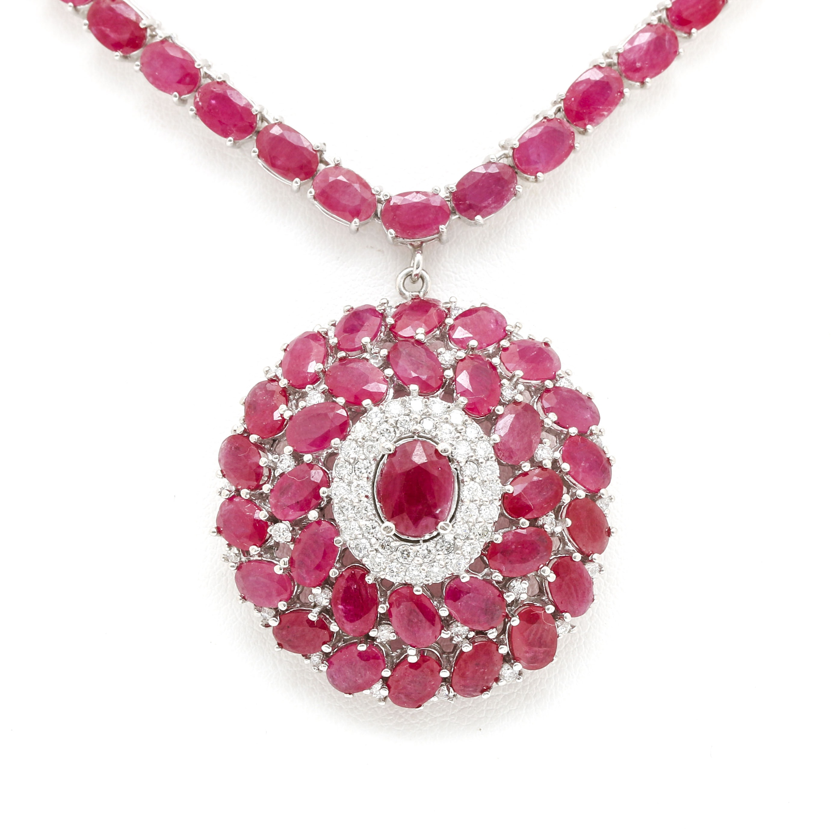 14K White Gold 44.54 CTW Ruby and 1.26 CTW Diamond Necklace