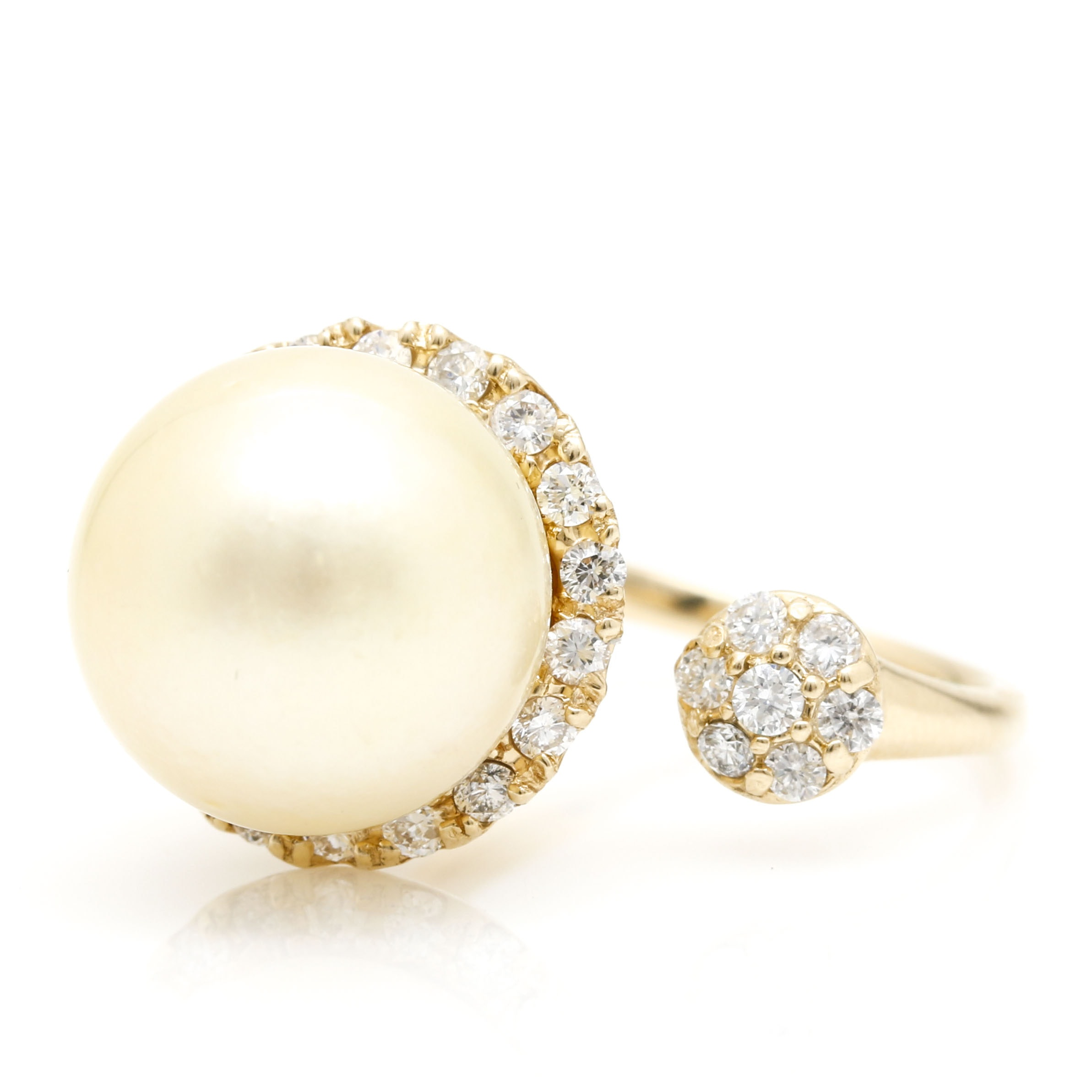 14K Yellow Gold Cultured Pearl and Diamond Open Shank Ring