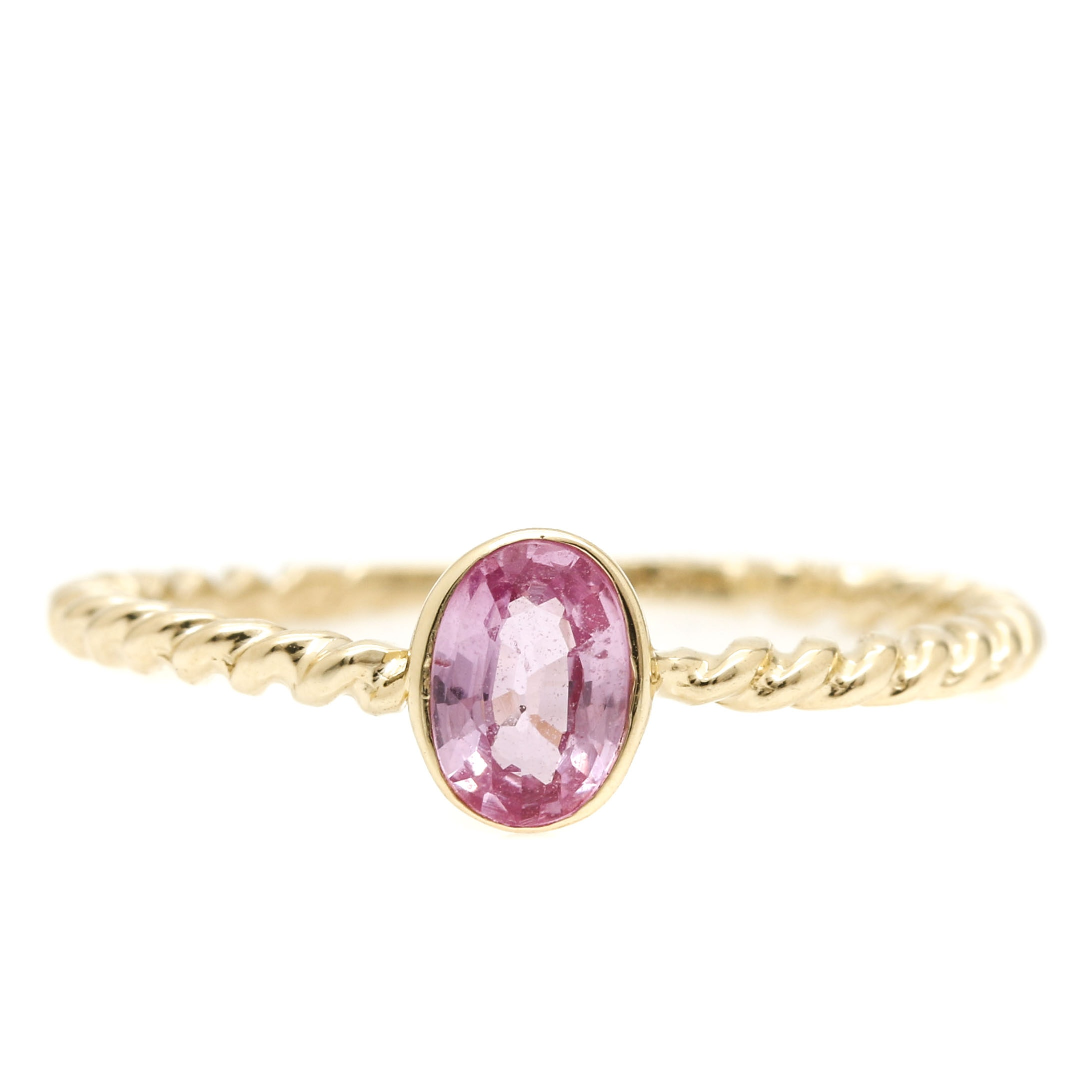 14K Yellow Gold Fancy Pink Sapphire Ring