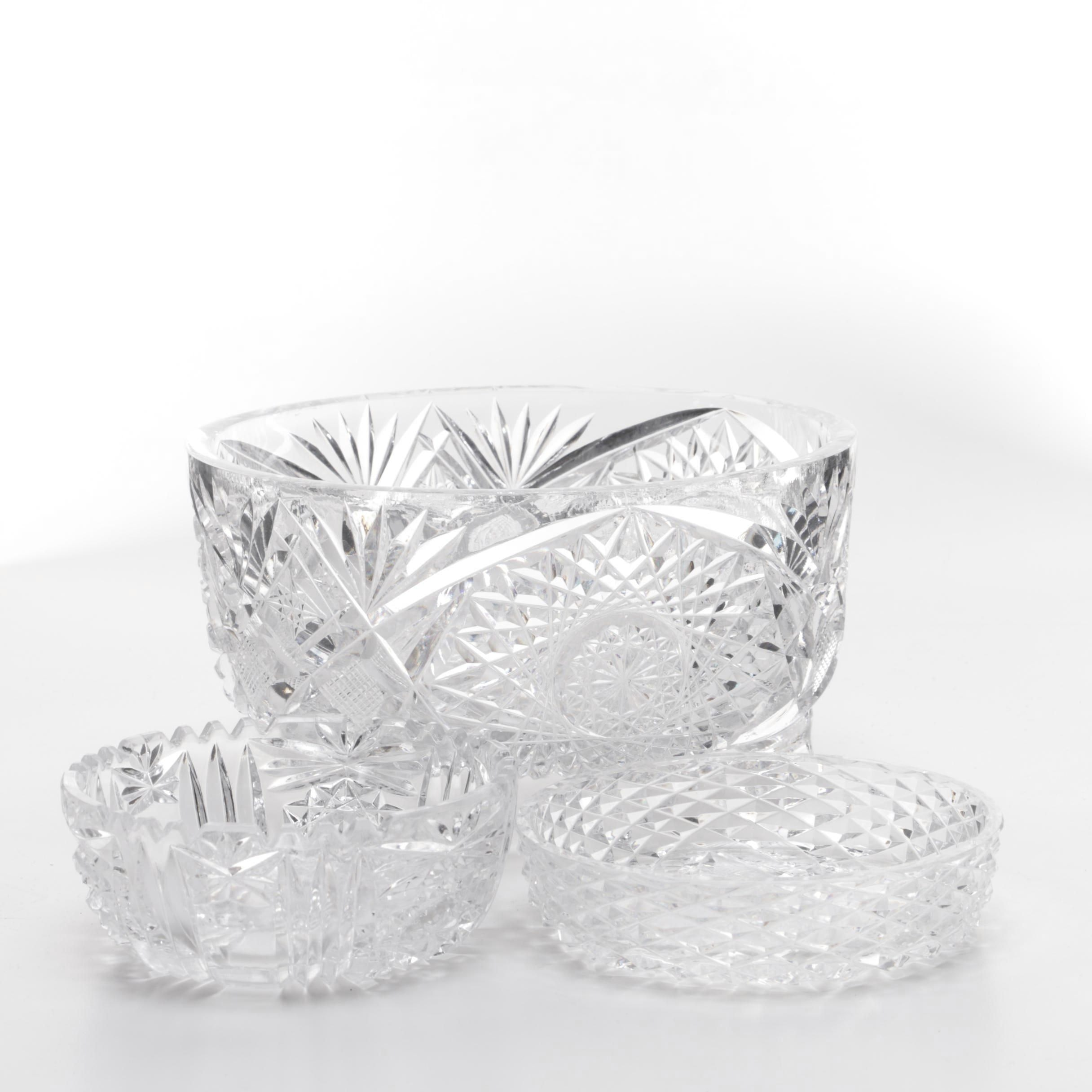 Three Vintage Cut Glass and Crystal Bowls