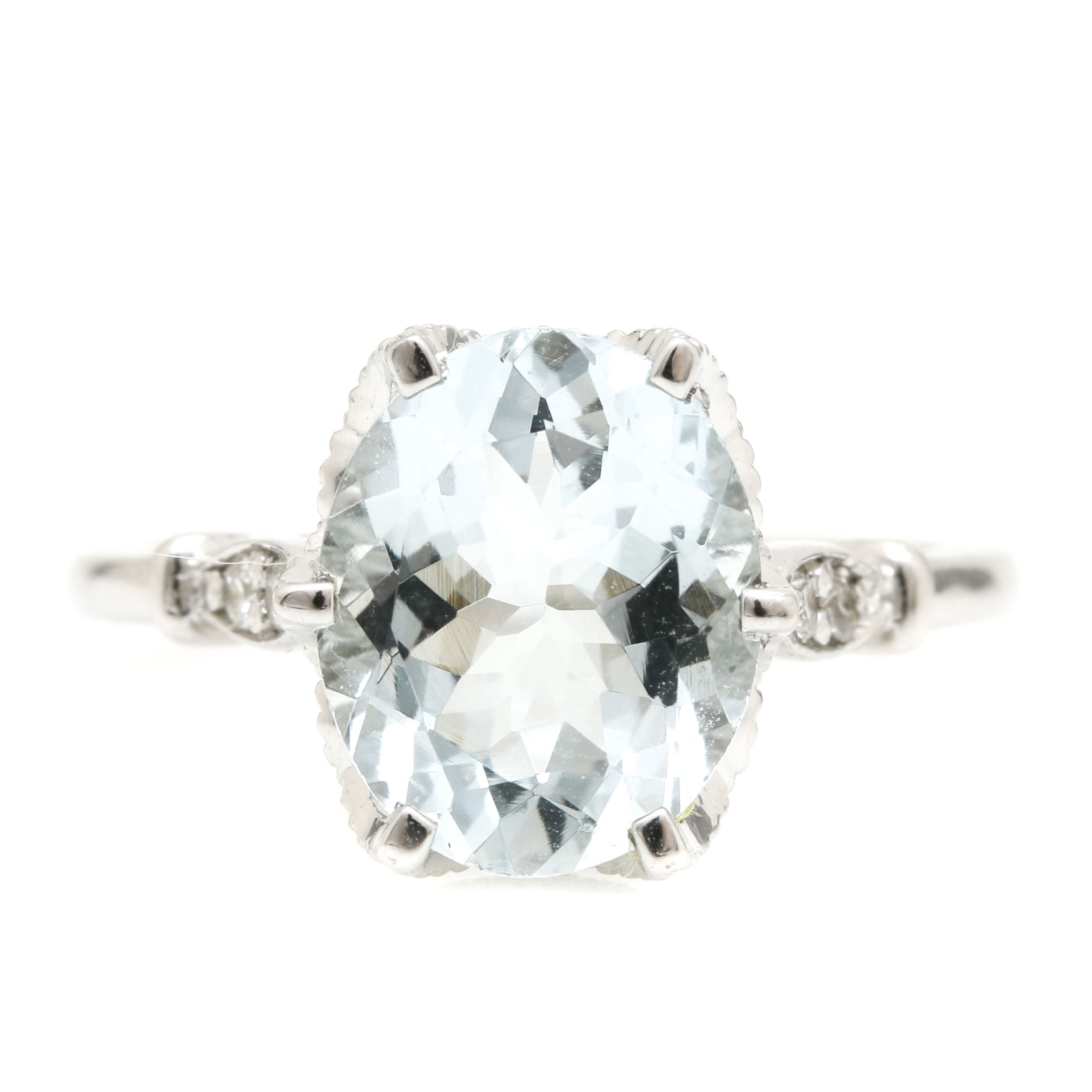 14K White Gold 2.98 CTS Aquamarine and Diamond Ring