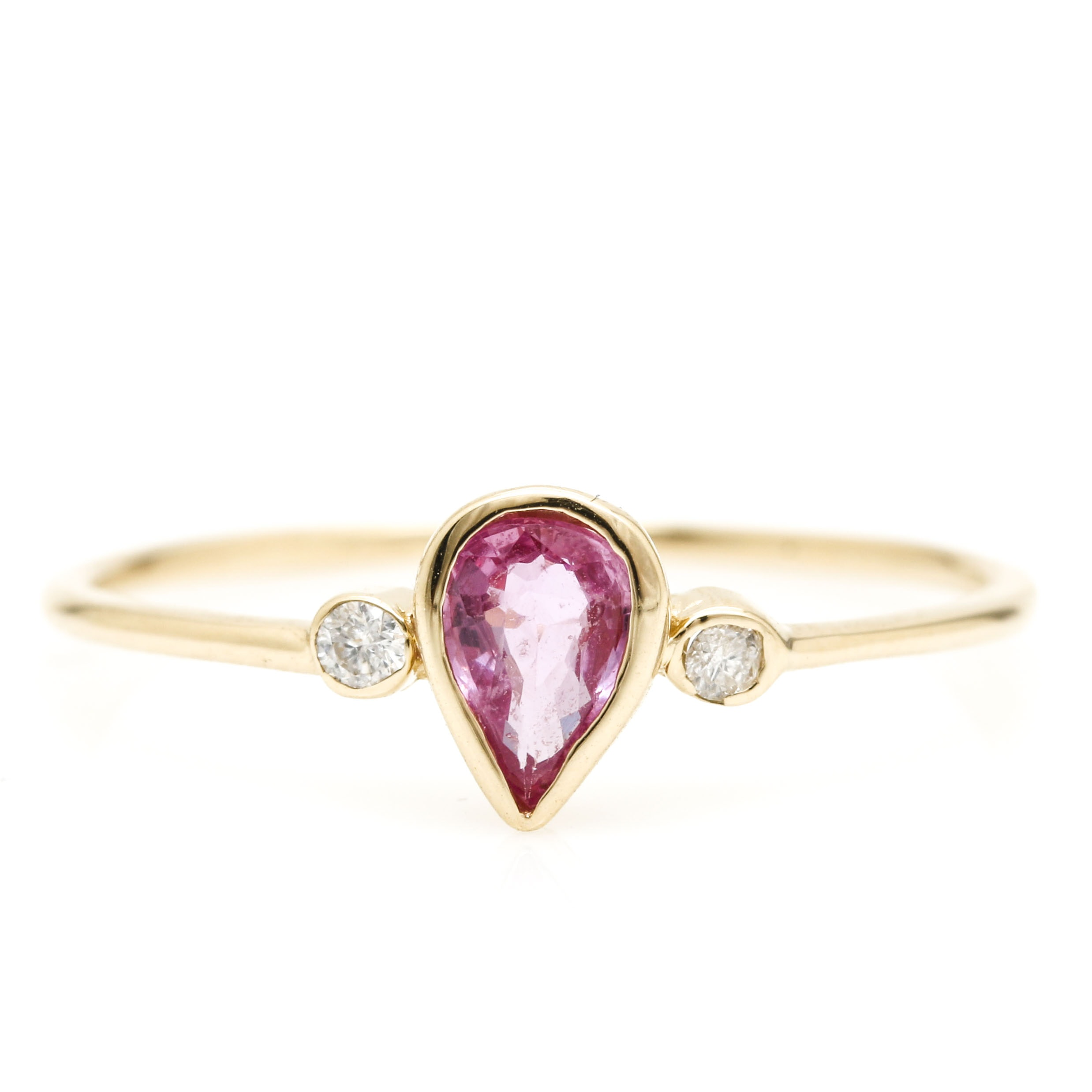 14K Yellow Gold Fancy Pink Sapphire and Diamond Ring