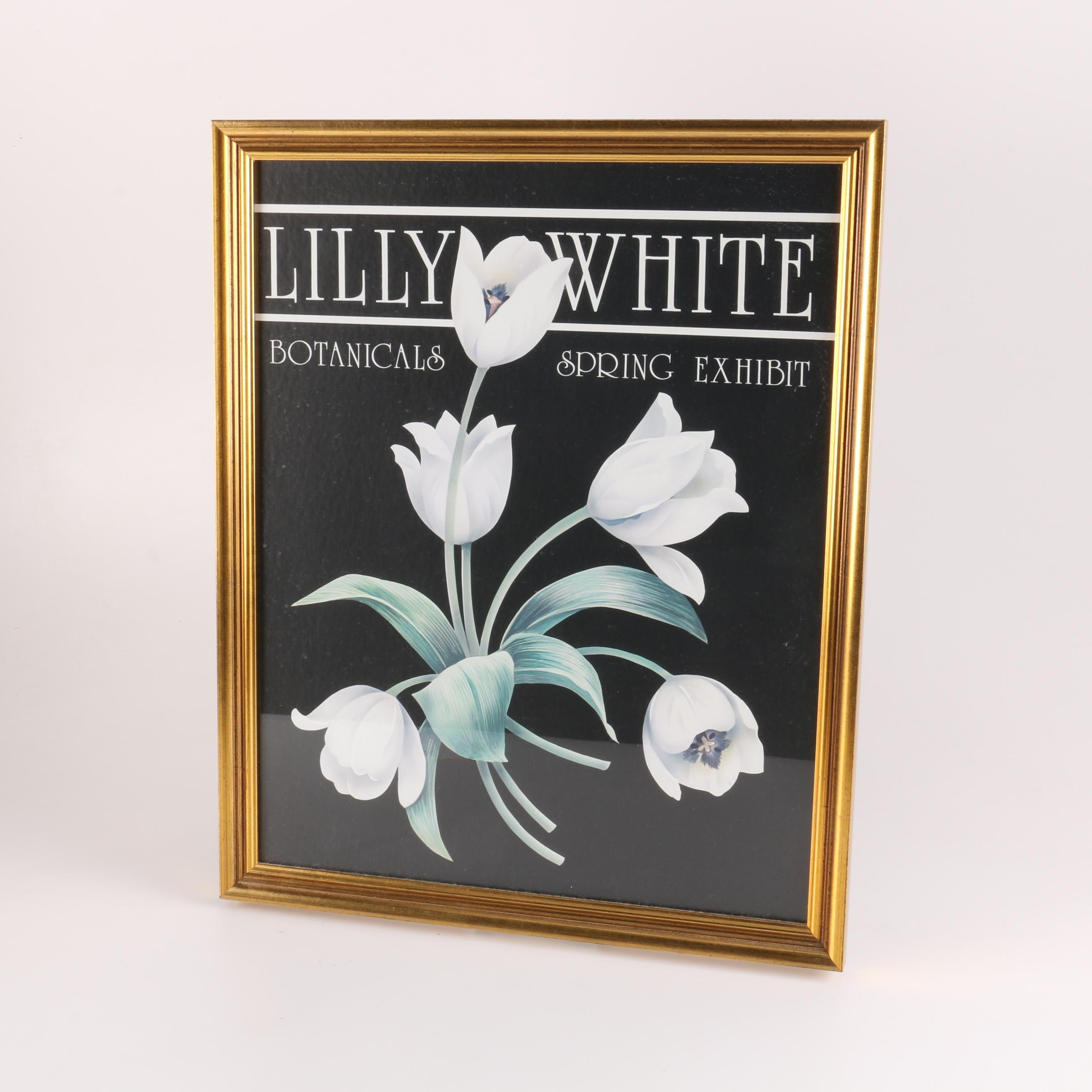 Offset Lithograph Poster for Lilly White Botanicals Spring Exhibit