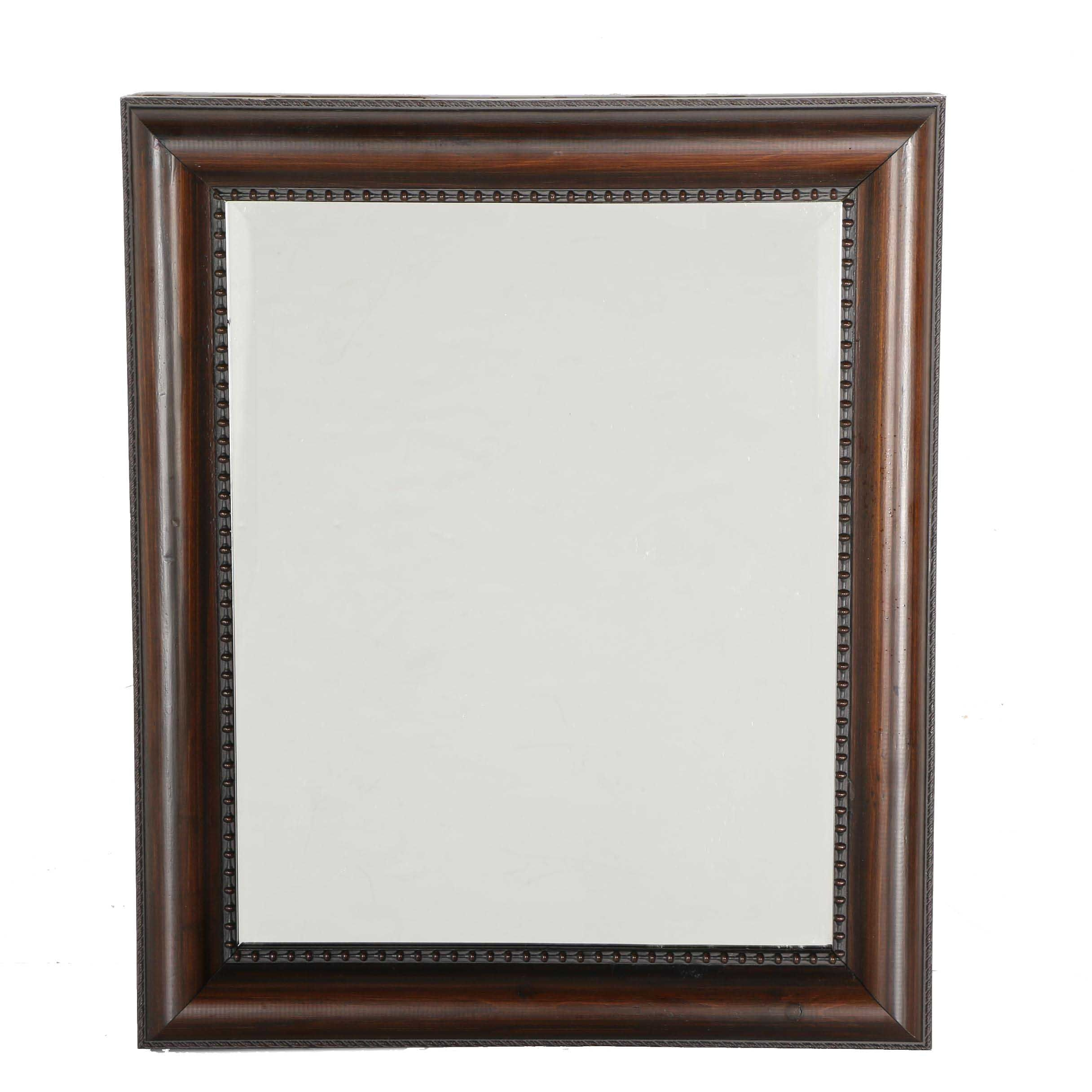 Wall Mirror with Smooth Brown Wooden Frame