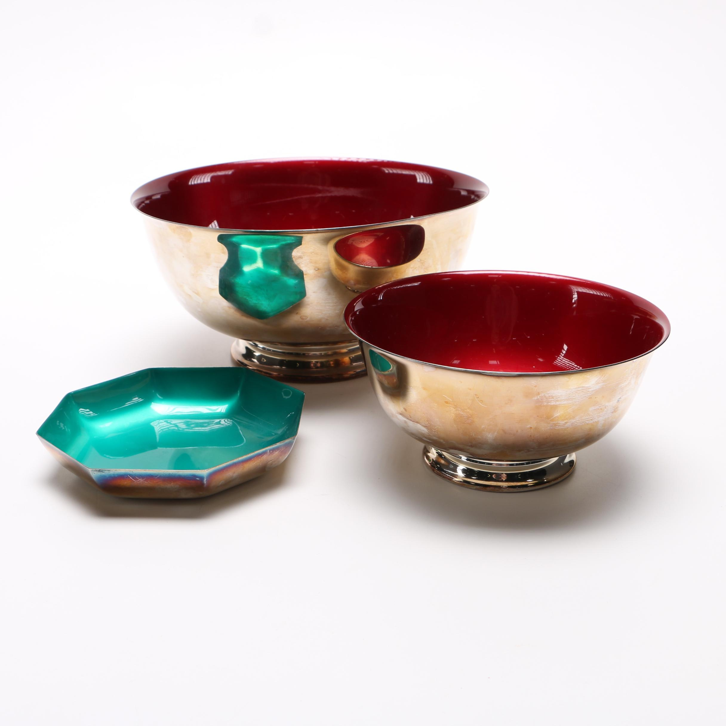 "Reed & Barton Mid Century Modern ""Color Glaze"" Silver Plated Bowls"