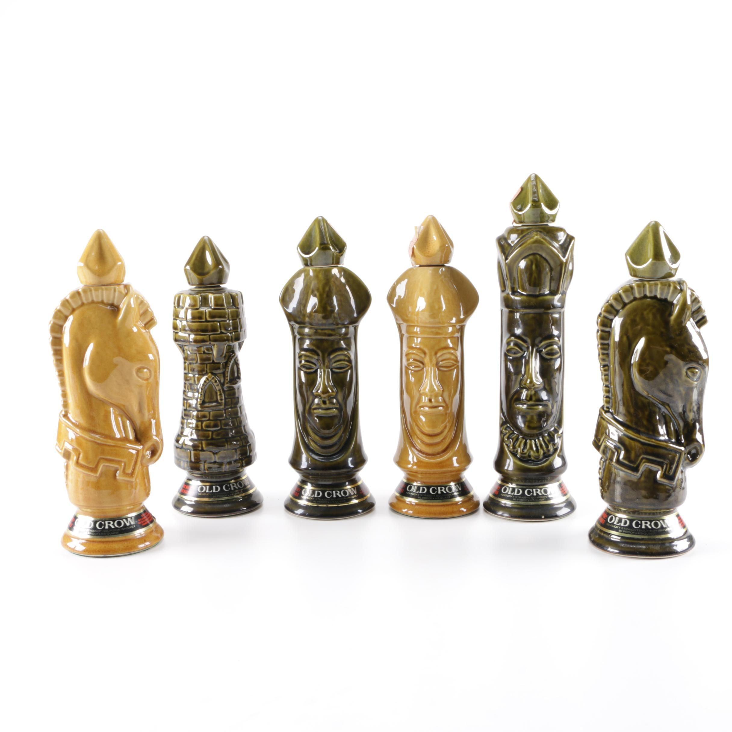 Collection of Old Crow Chessmen Ceramic Kentucky Bourbon Whiskey Bottles
