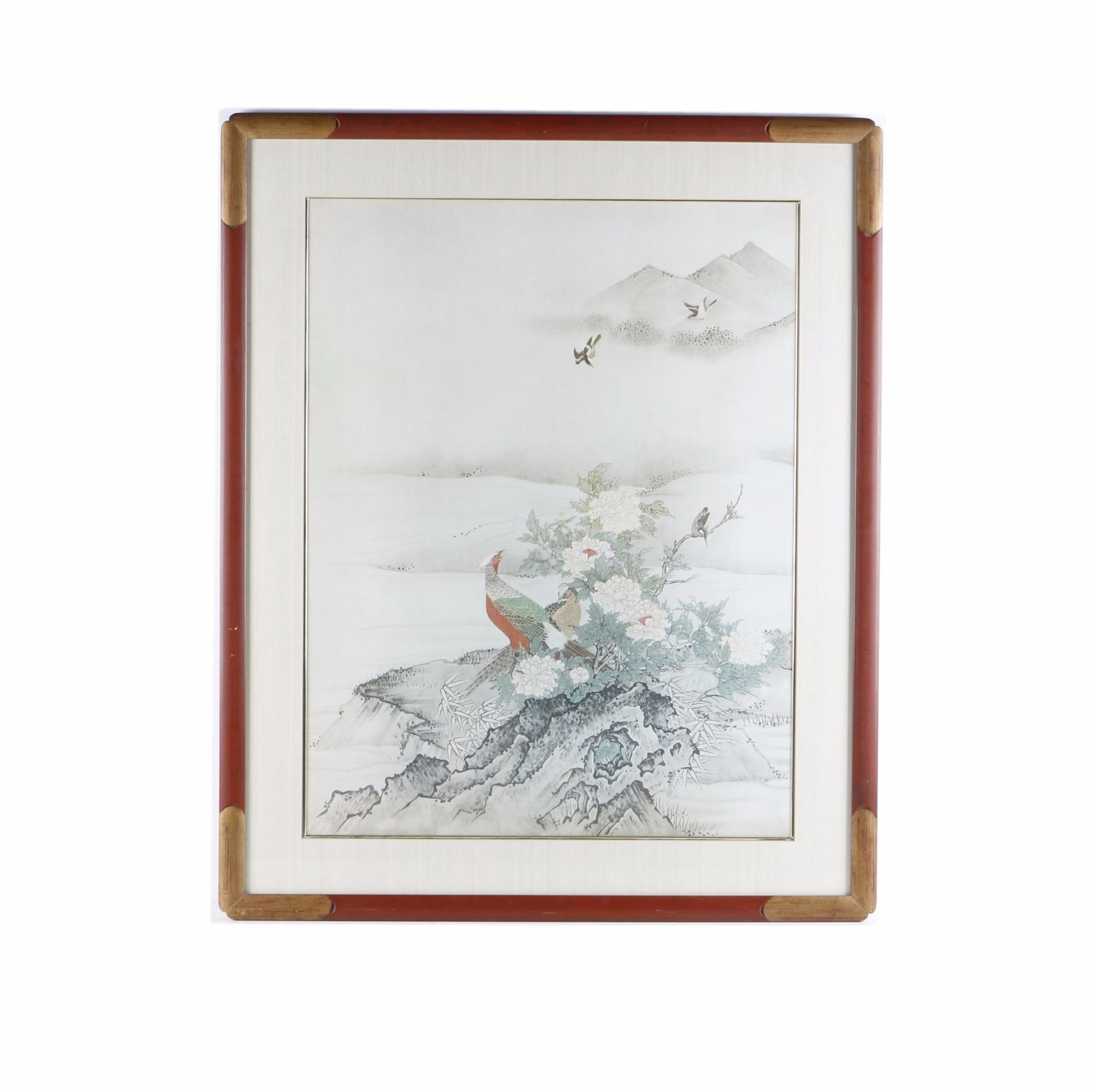 """Giclee Print After Kano Motonobu """"Flowers and Birds in a Spring Landscape"""""""