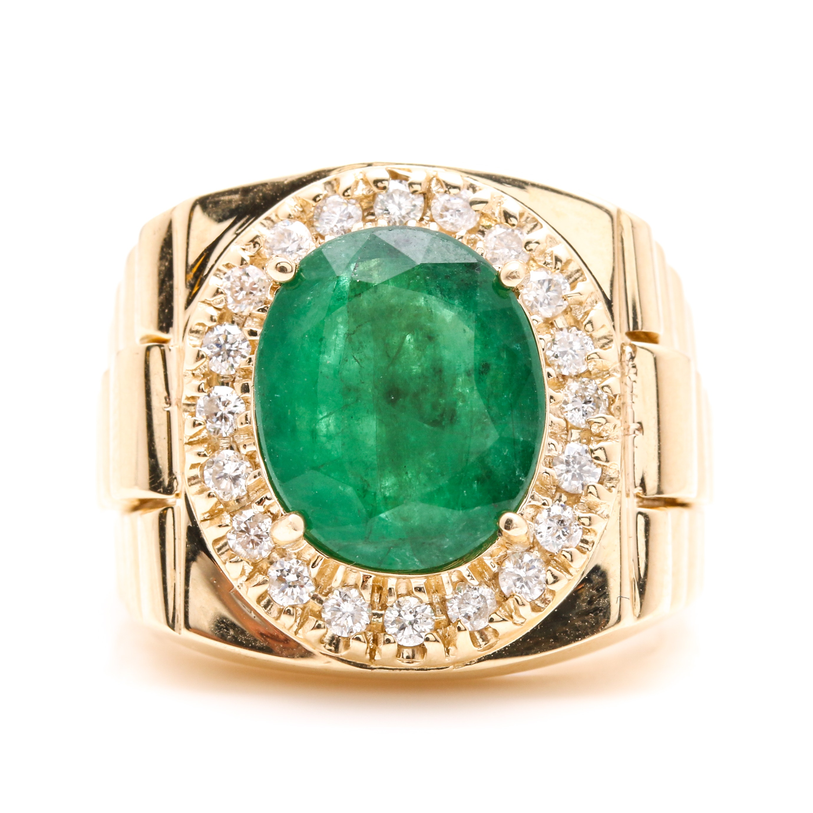 14K Yellow Gold 3.75 CT Emerald and Diamond Ring