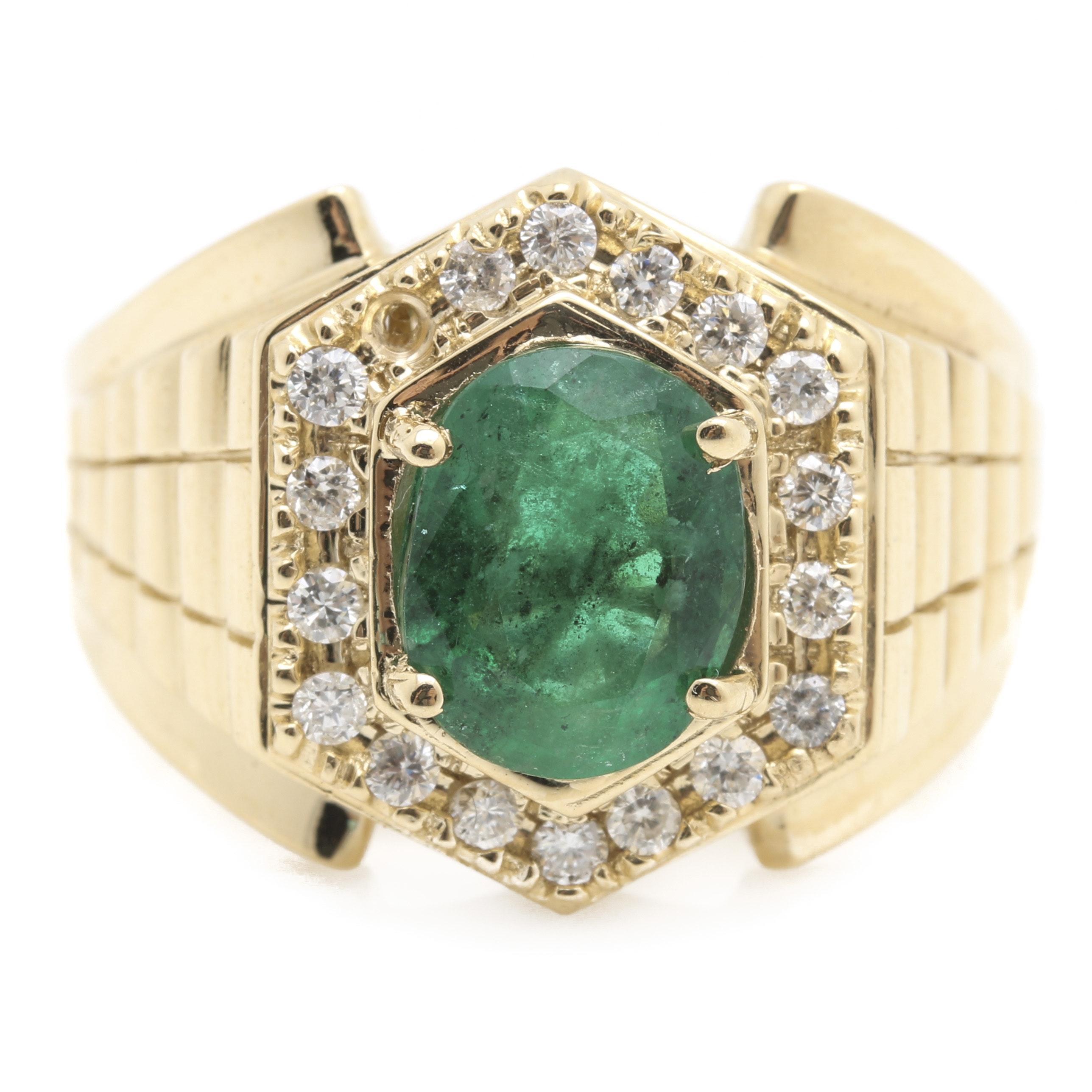 14K Yellow Gold 2.30 CT Emerald and Diamond Ring