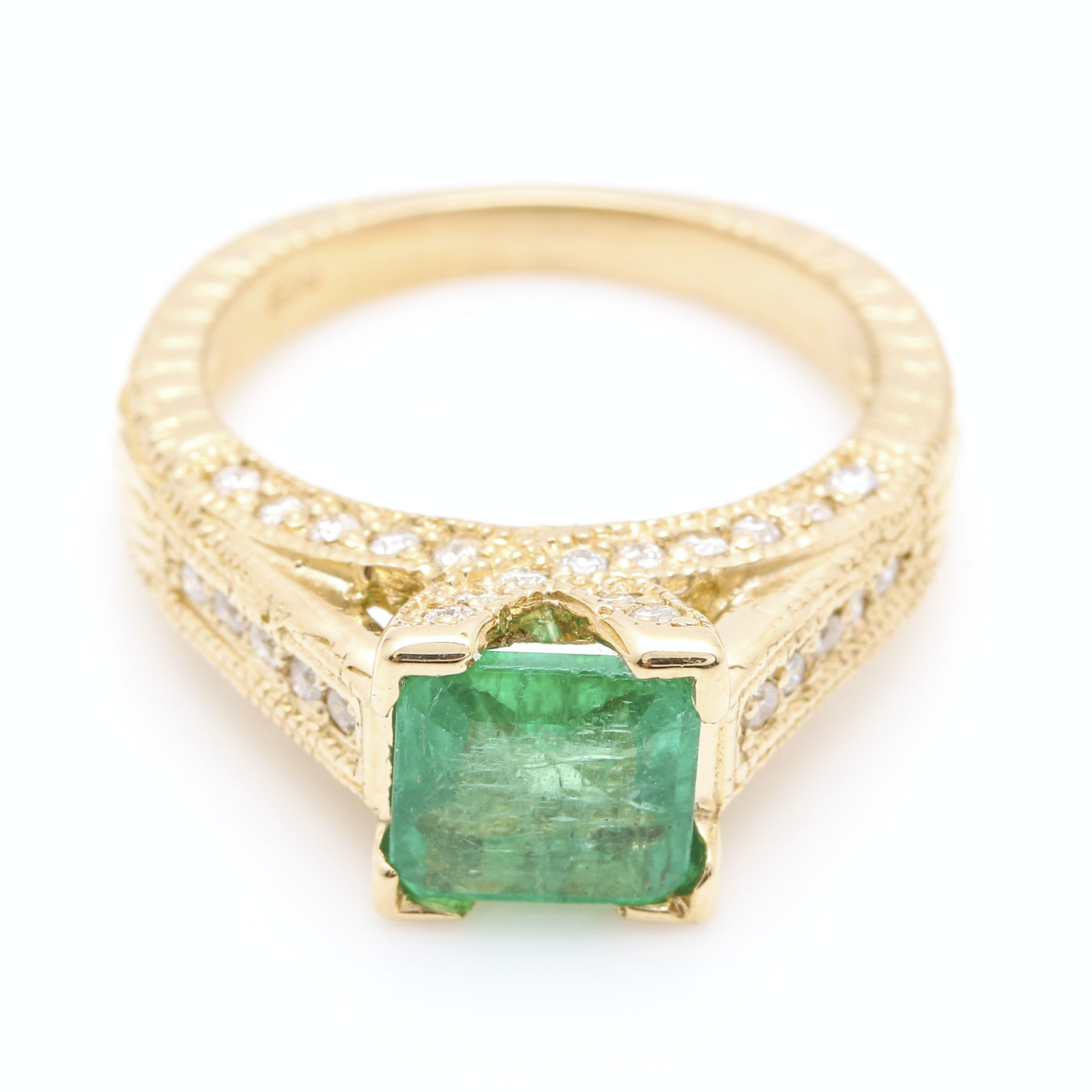 14K Yellow Gold 1.21 CT Emerald and Diamond Ring