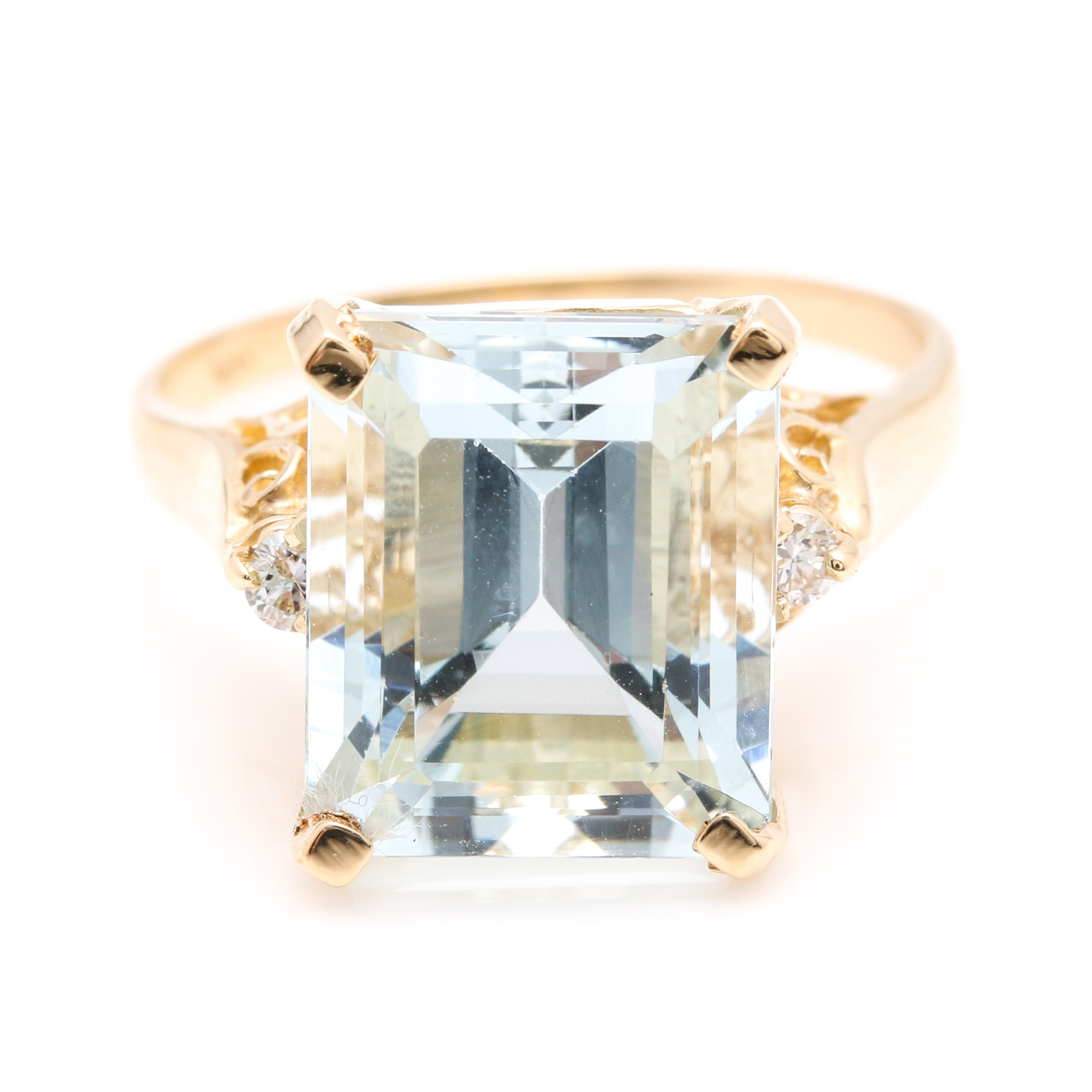 14K Yellow Gold 6.54 CT Aquamarine and Diamond Ring