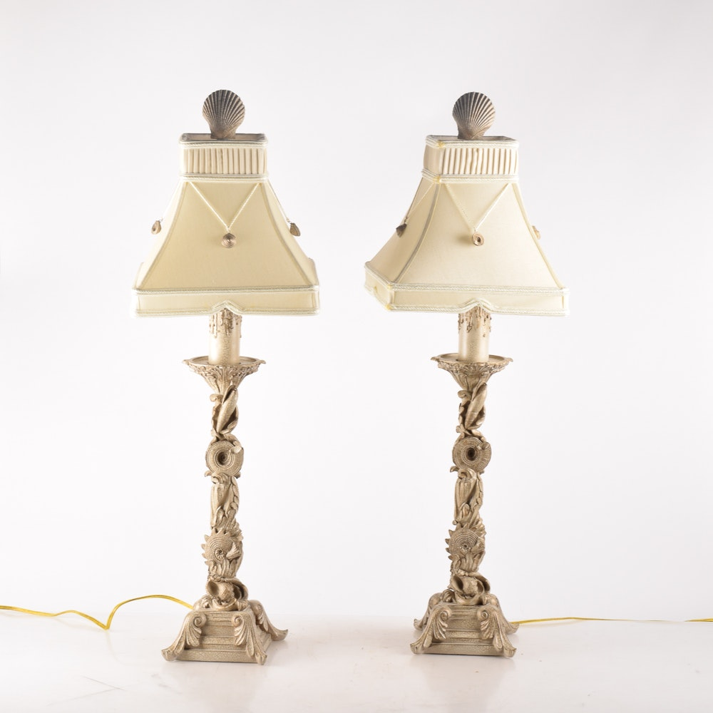 Shell Themed Table Lamp Pair