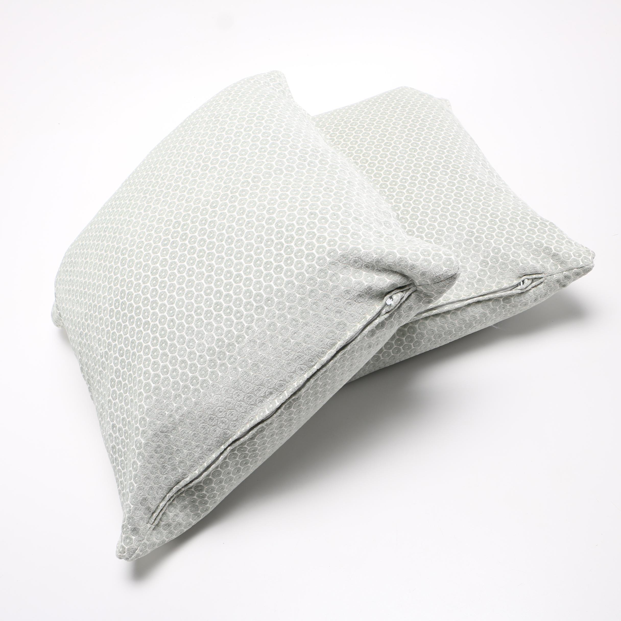 Green and White Throw Pillows