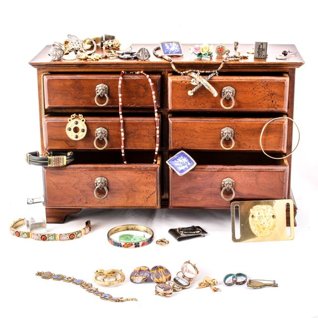 Collection of Exotic Vintage Costume Jewelry with Box
