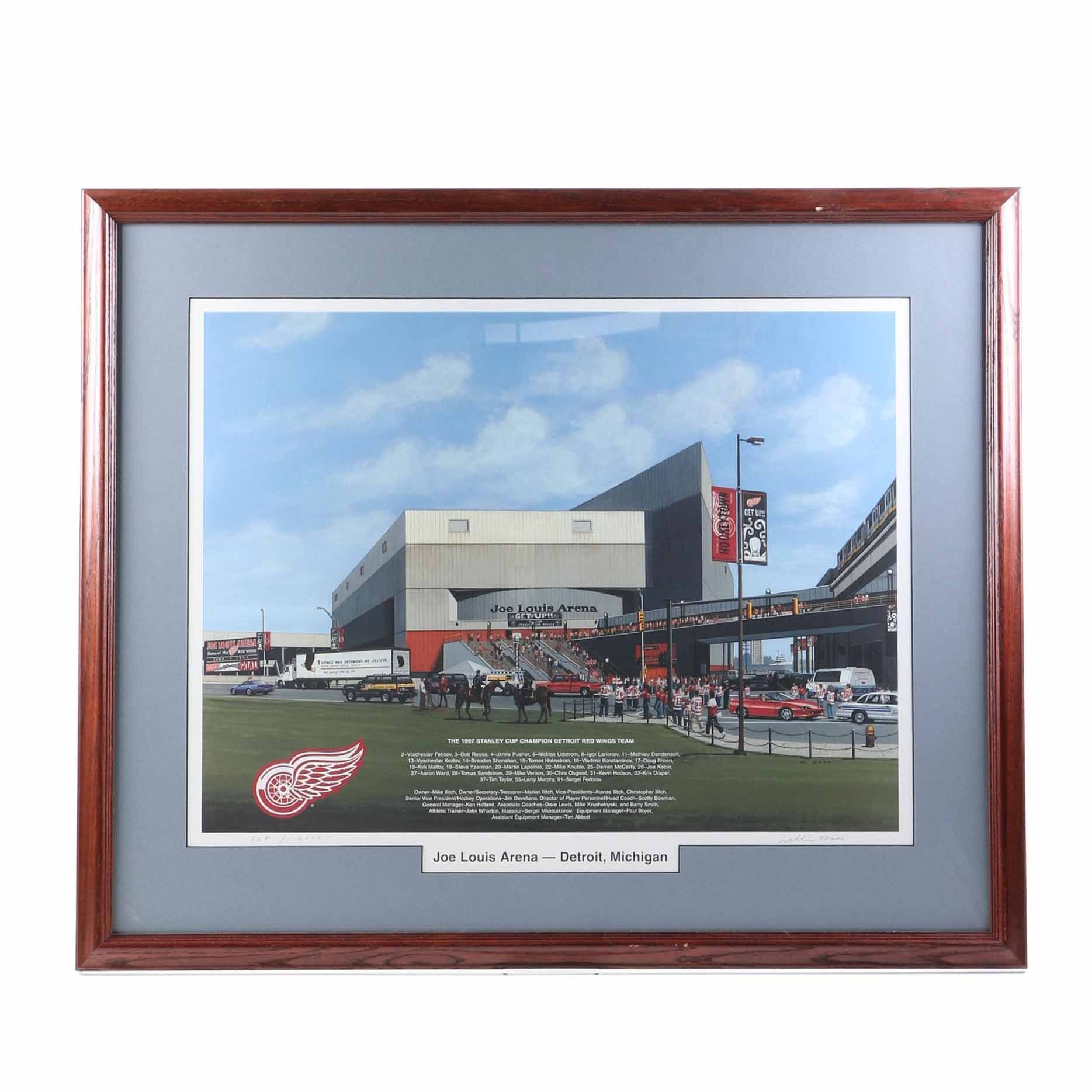 William Man Offset Lithograph of Joe Louis Arena and 1997 Stanley Cup Detroit Red Wings