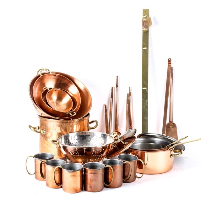 Collection of Copper Plated Kitchenware